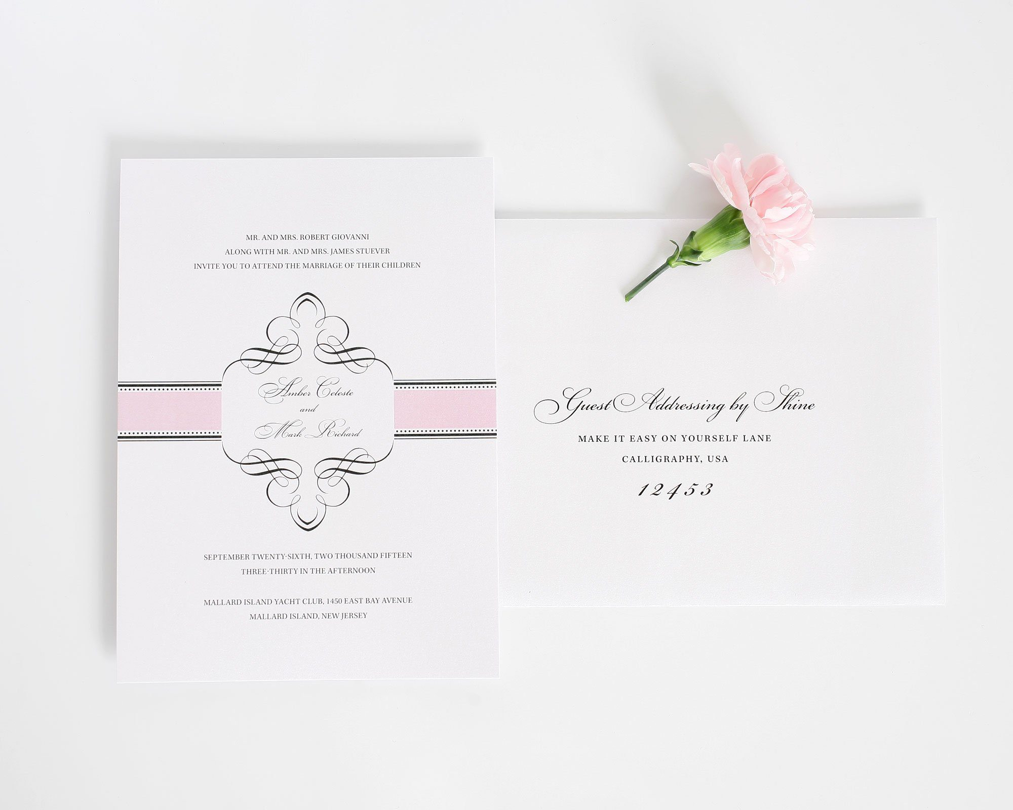 Vintage Wedding Invitations in pink with swashes