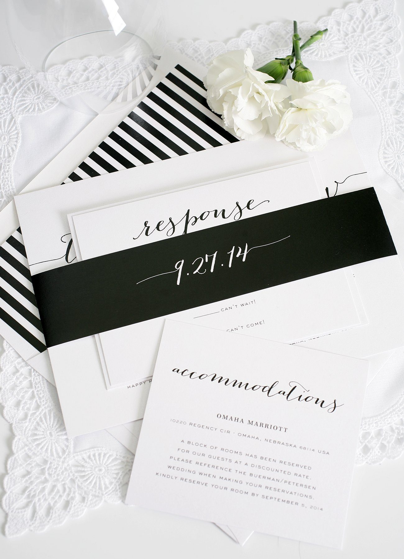 Wedding invitations in black and white