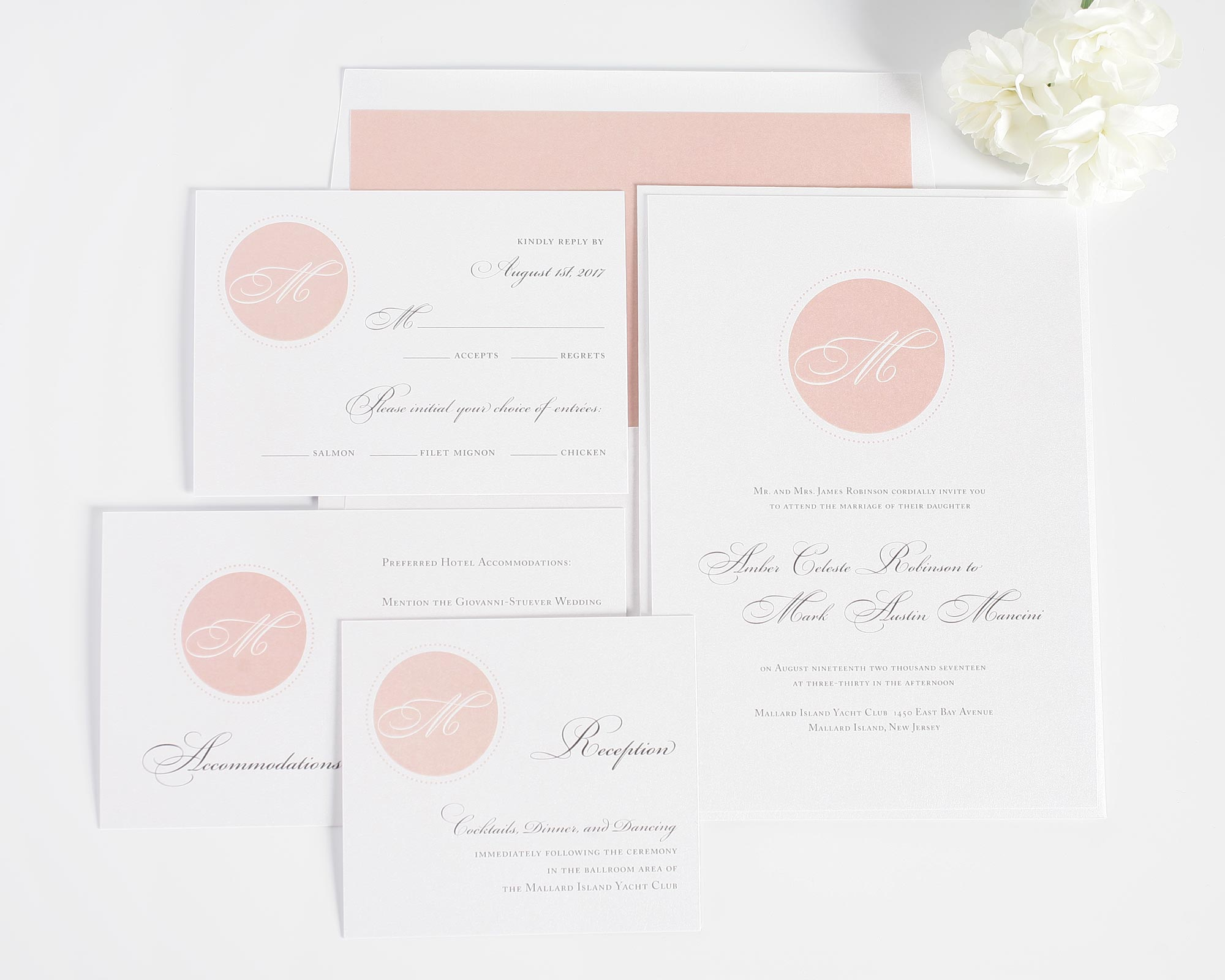 Wedding invitations with blush circle monogram