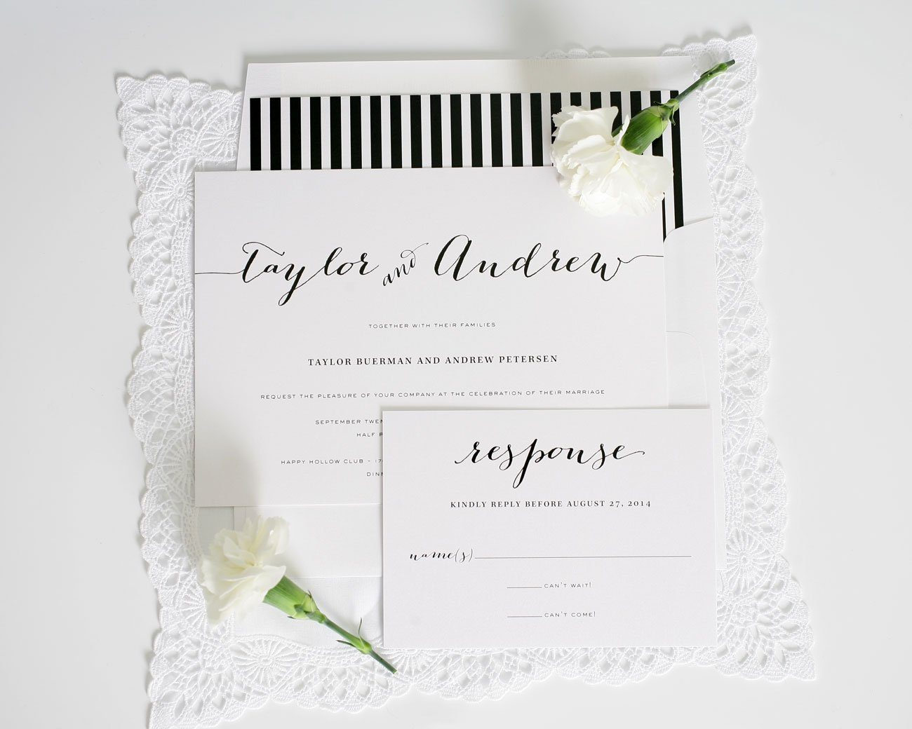 Whimsical Black and White Striped wedding invitations