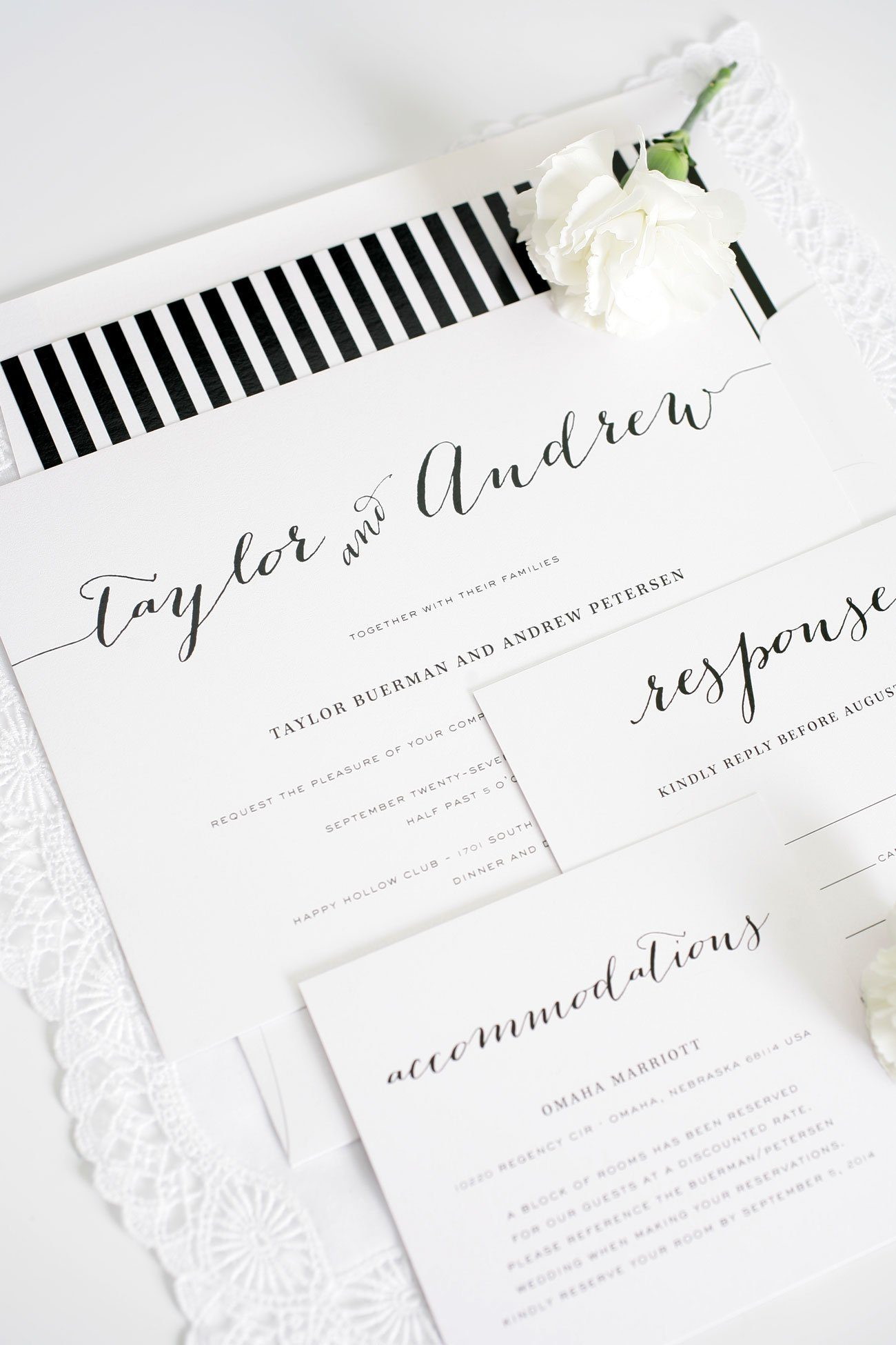Whimsy black and white striped wedding invitations