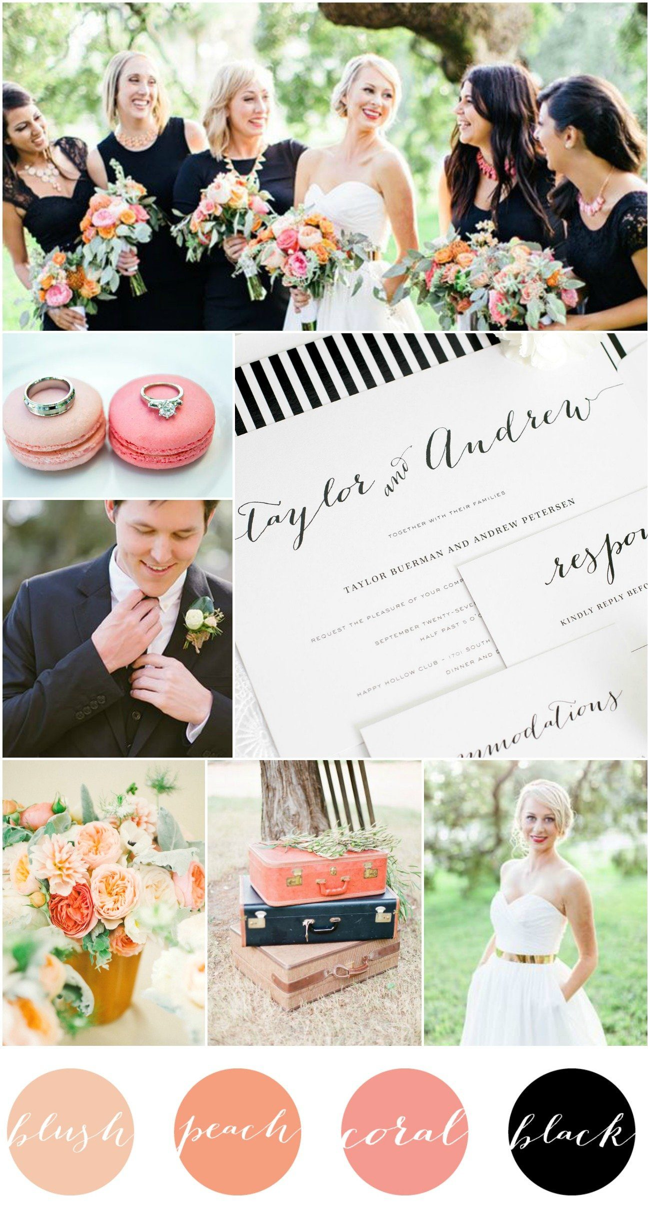 Blush Peach Coral Black Wedding Inspiration