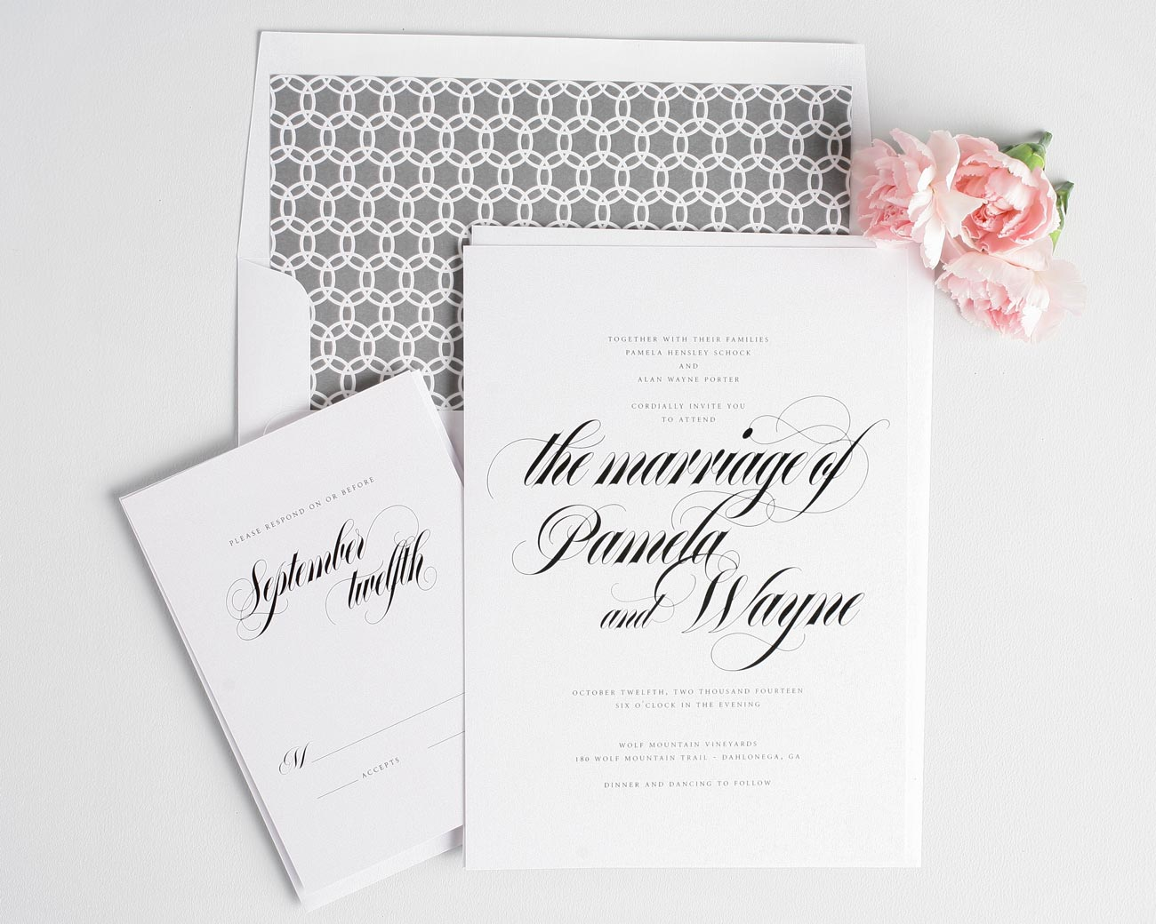 Bold calligraphy wedding invitations with gray circle envelope liner