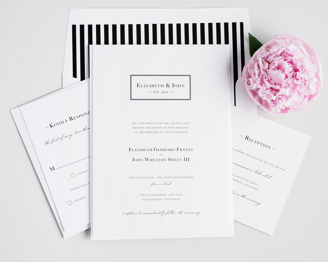 black and white striped wedding invitations with a monogram