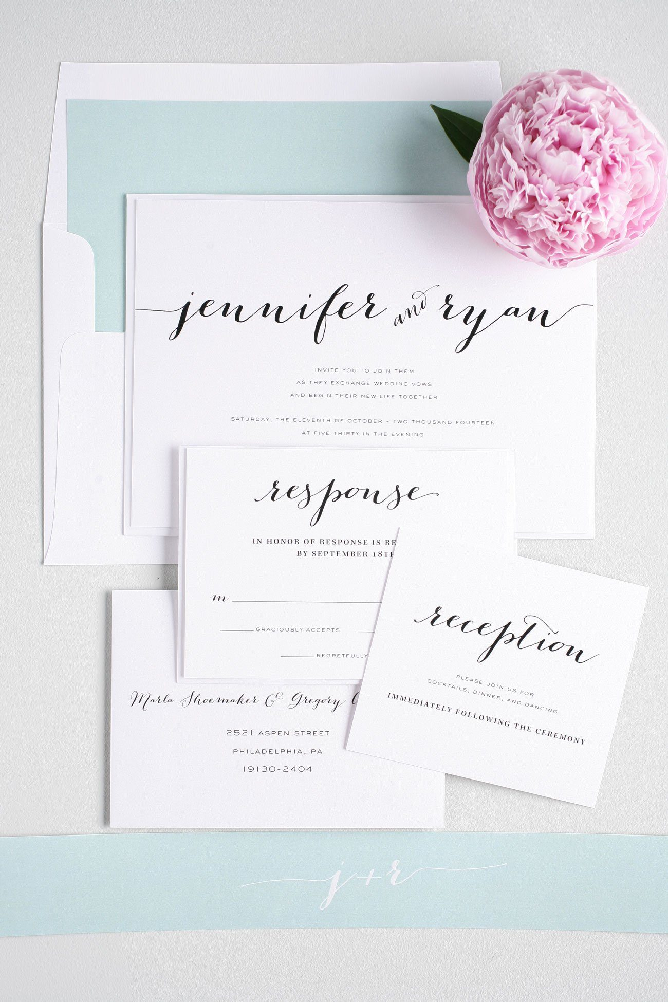 Rustic script wedding invitations in mint