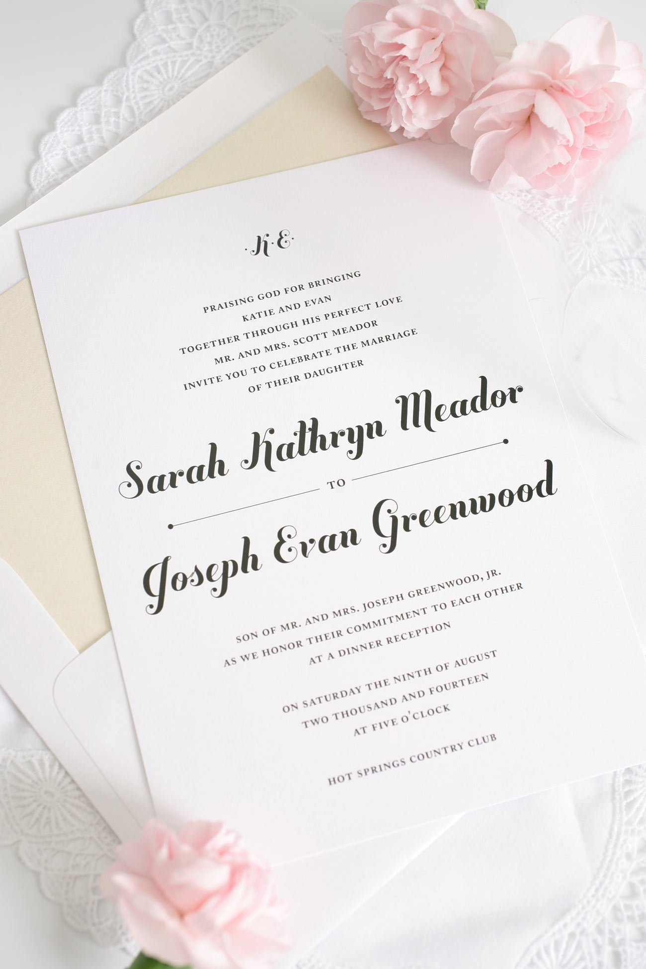 Champagne Script Wedding Invitations