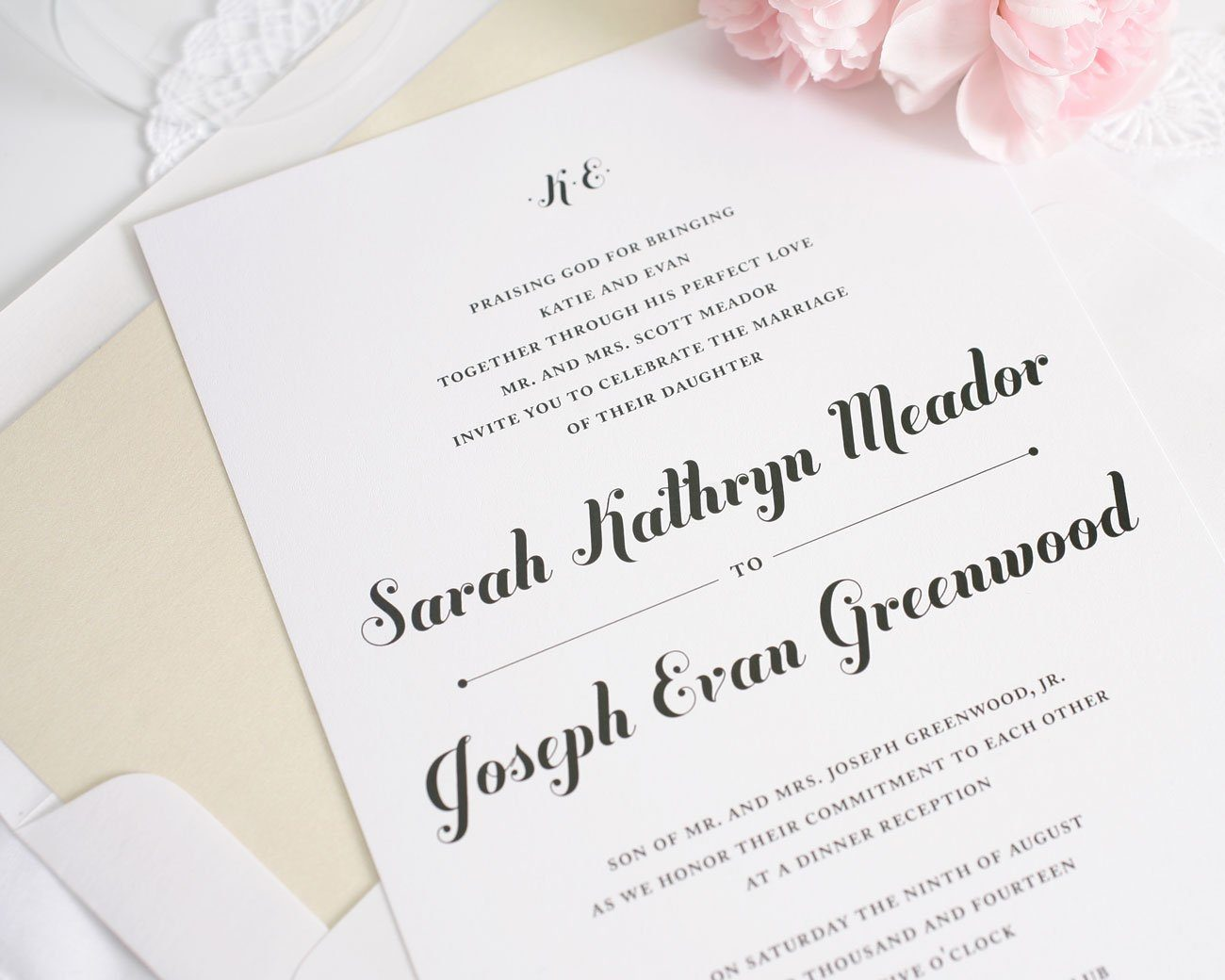 Whimsical Script Wedding Invitations Wedding Invitations