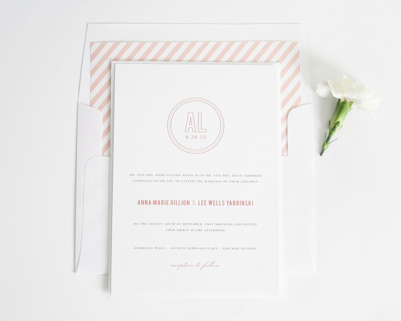 Coral stripe wedding invitations