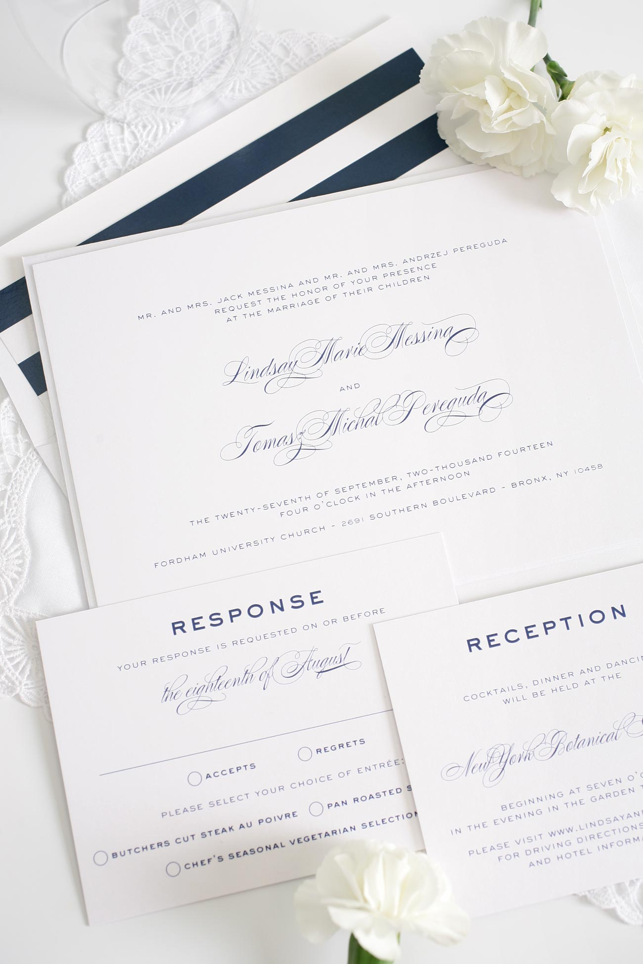Classic navy wedding invitations