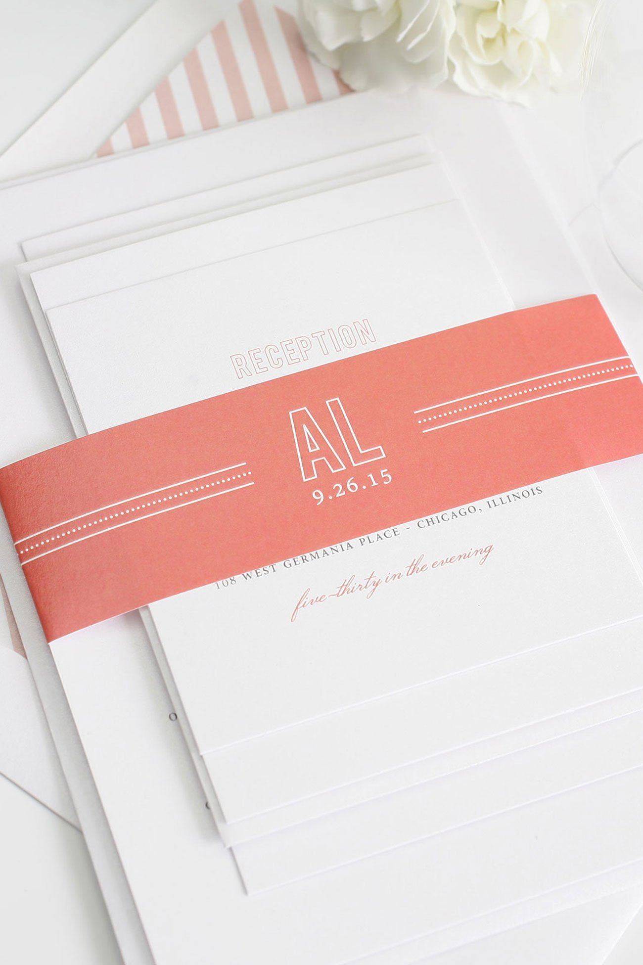 Coral wedding invitations with dots