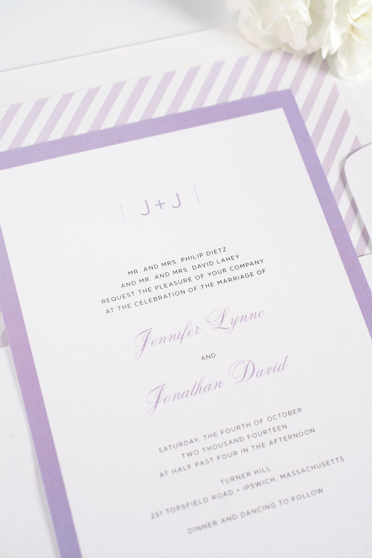 Elegant wedding invitations with borders