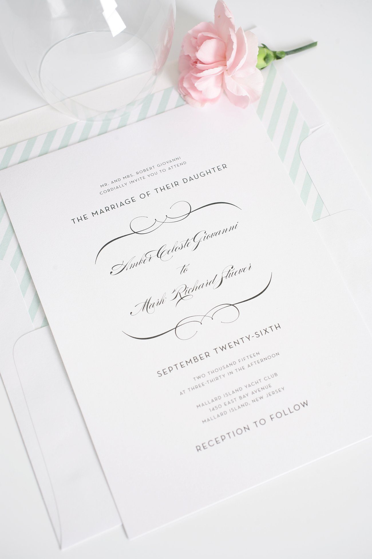 French wedding invitations with mint accents