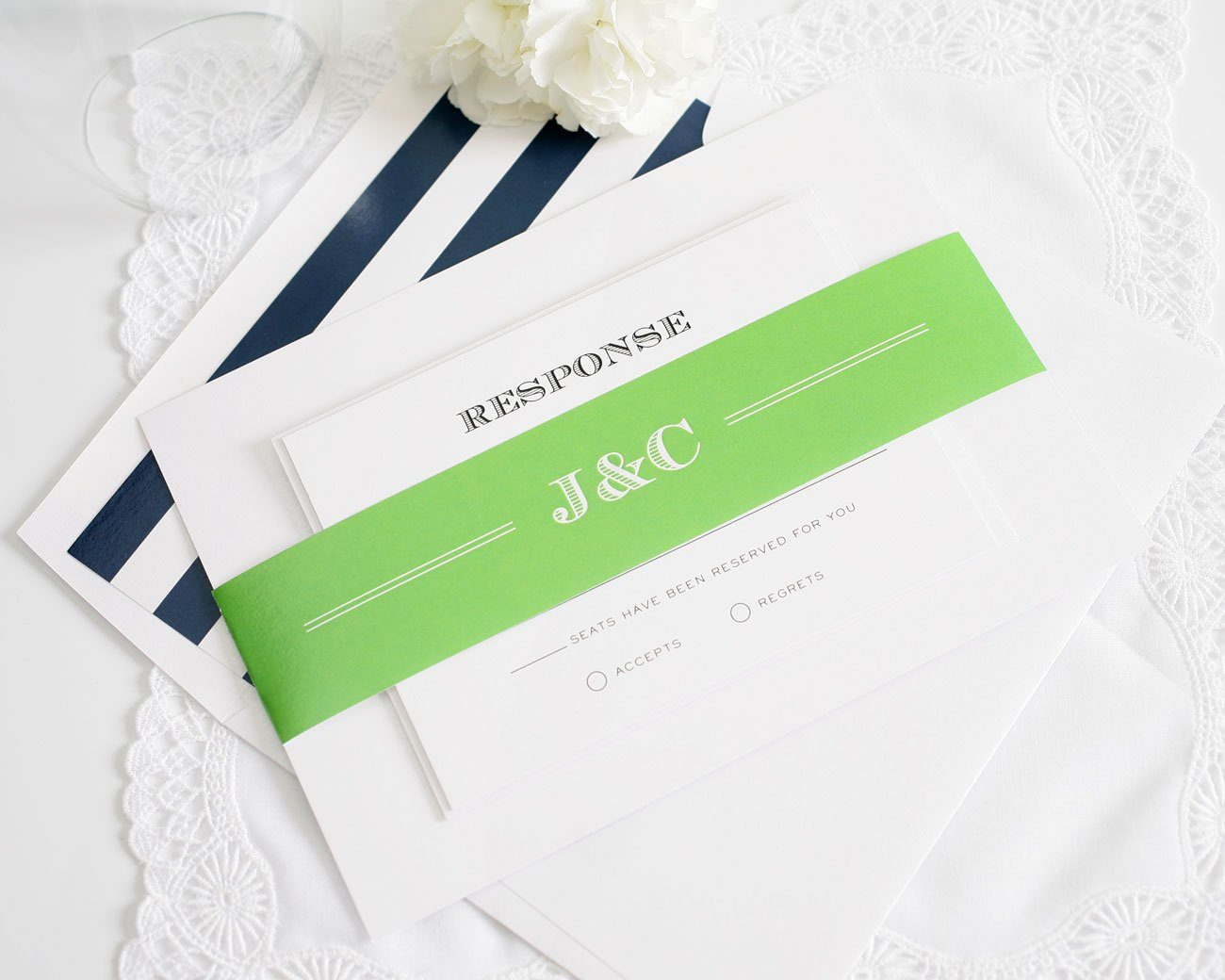 Vintage Wedding Invitations in Navy and Lime Green – Wedding Invitations