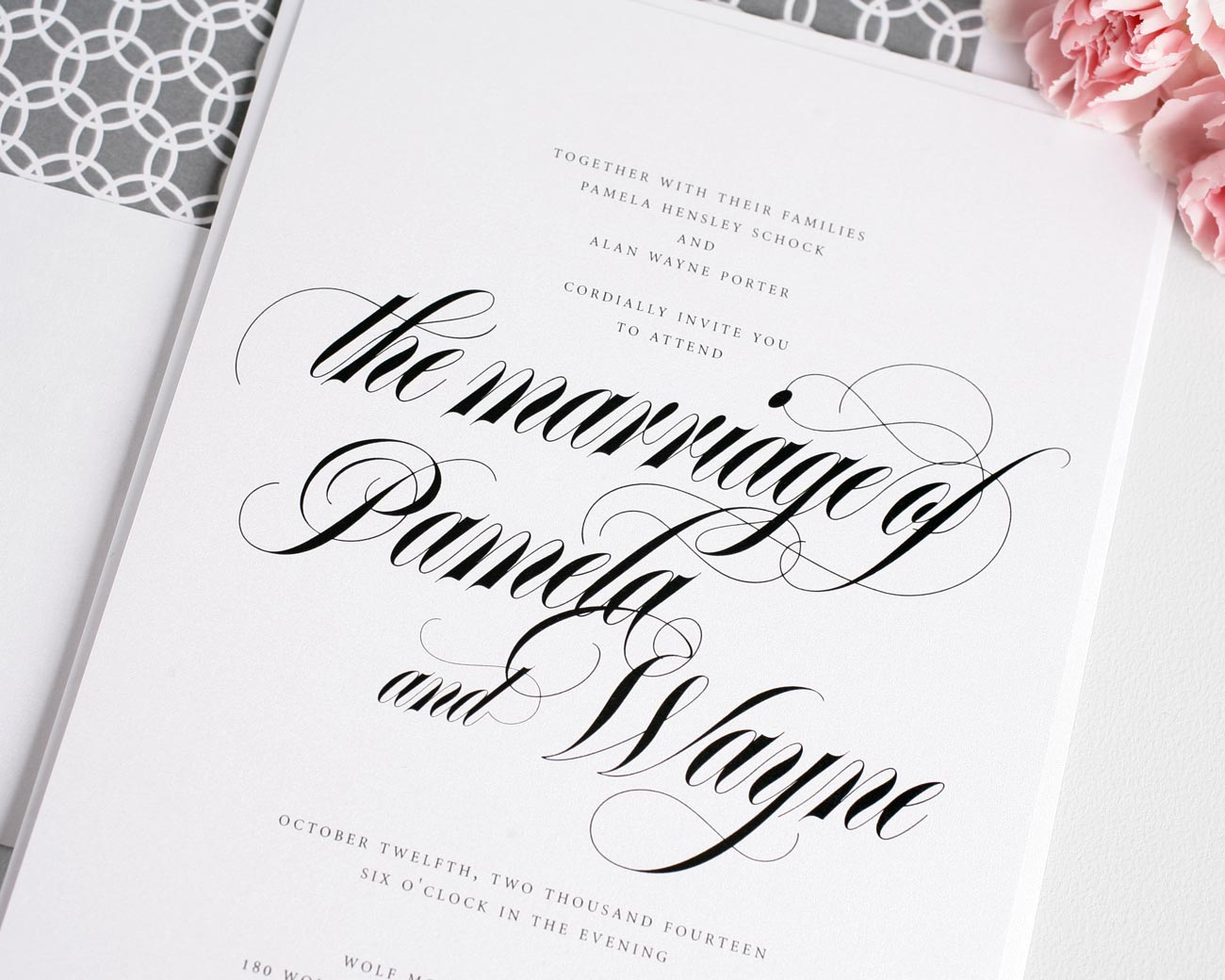 Bold calligraphy wedding invitations in gray wedding for Wedding invitations writing names