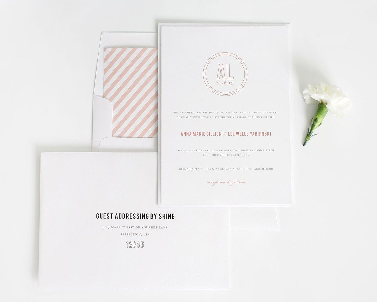 Chic monogram wedding invitations