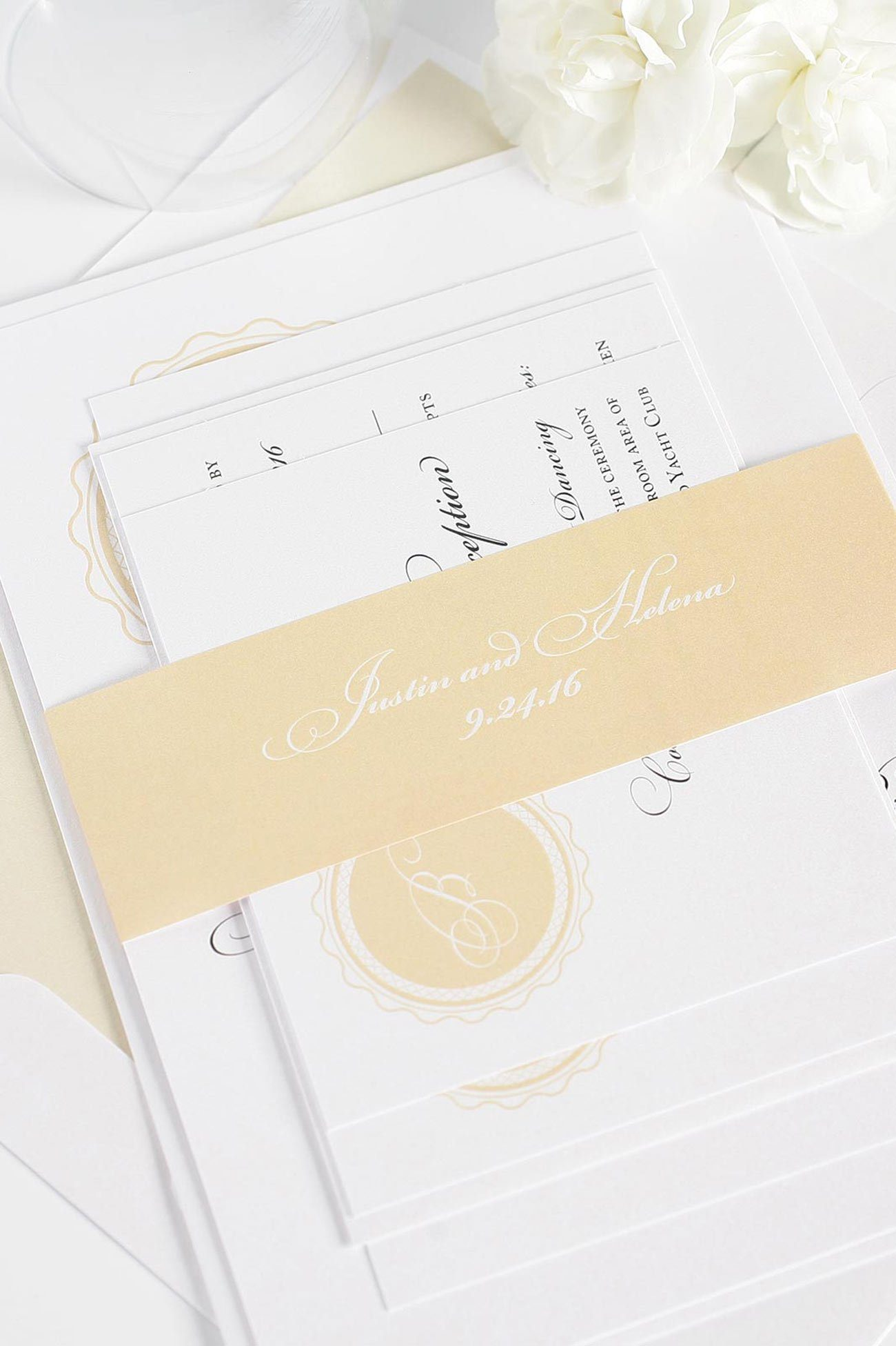 light peach wedding invitations with monogram