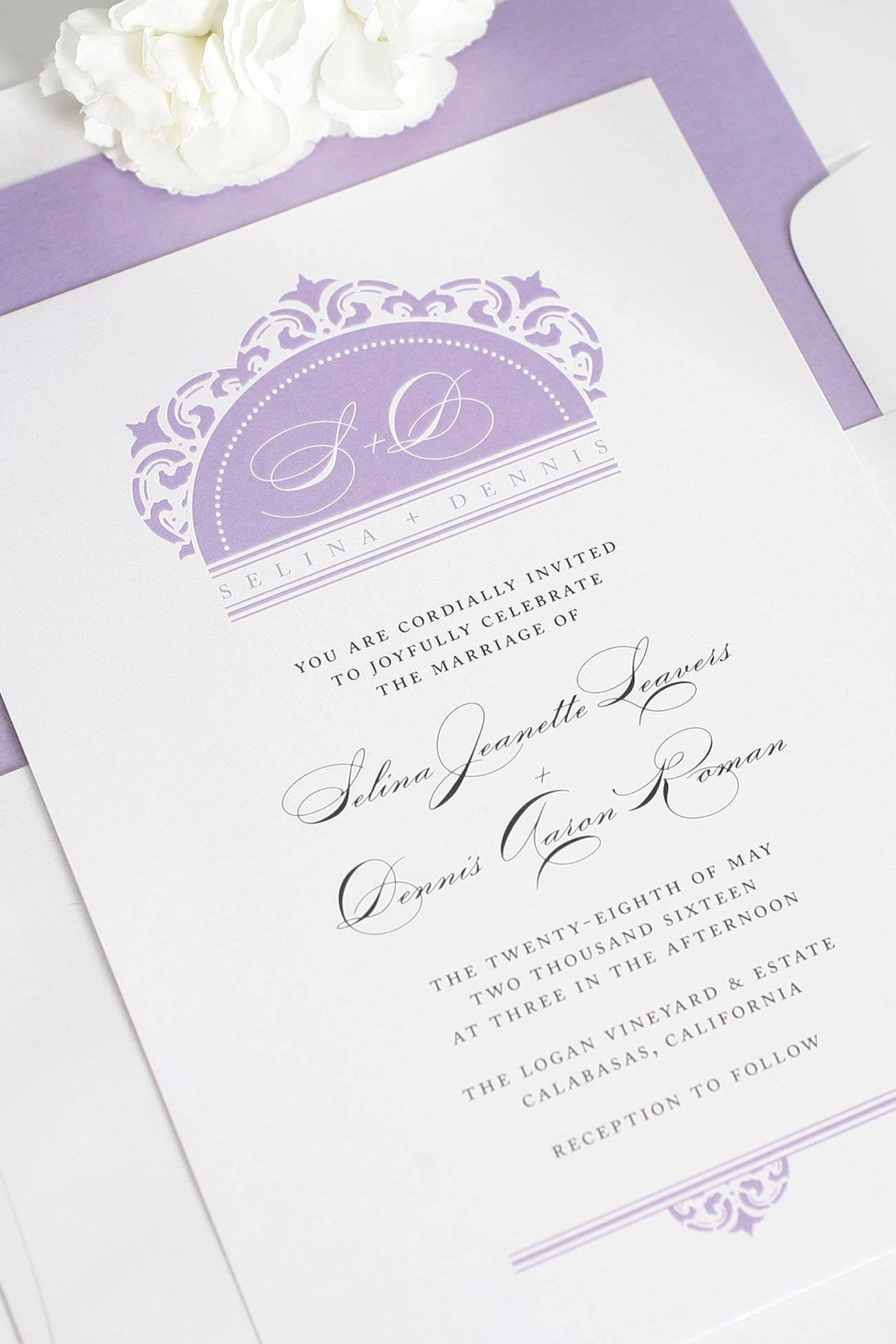 Elegant purple wedding invitations