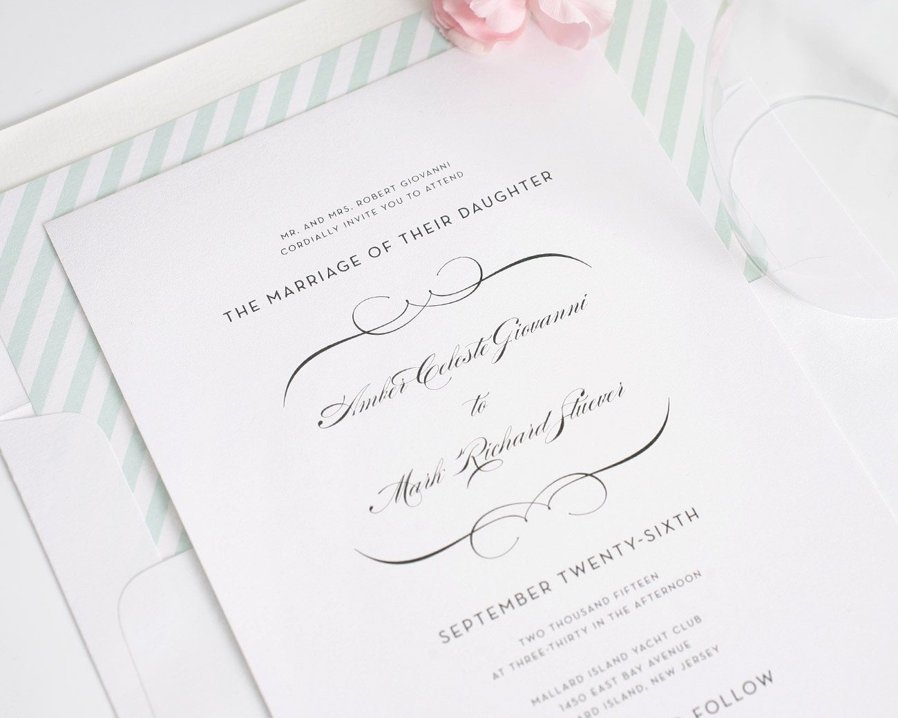 Romantic wedding invitations in mint green