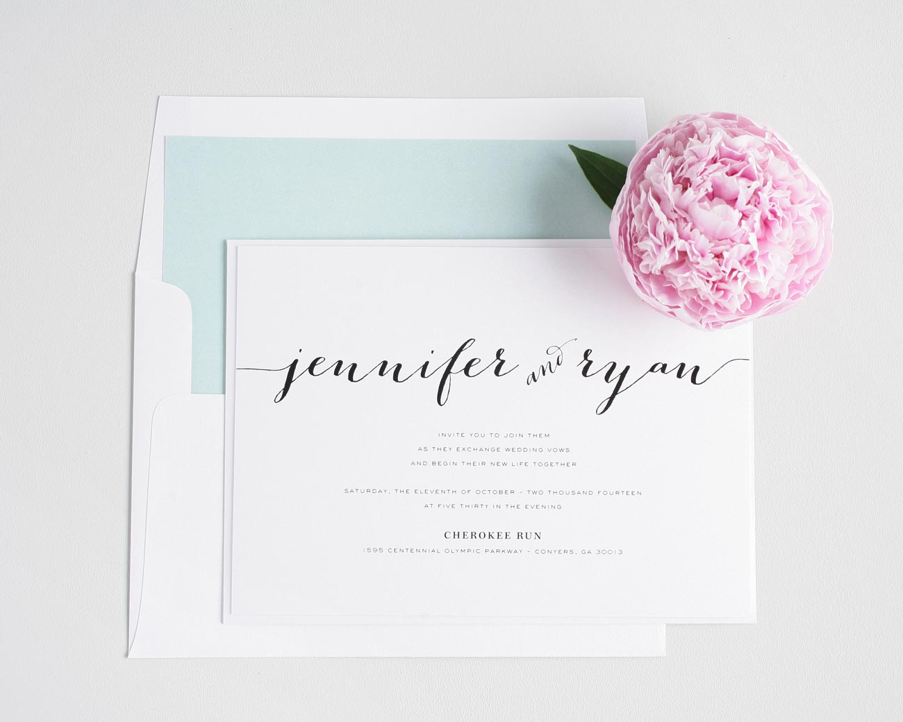 rustic script wedding invitations in mint – wedding invitations, Wedding invitations