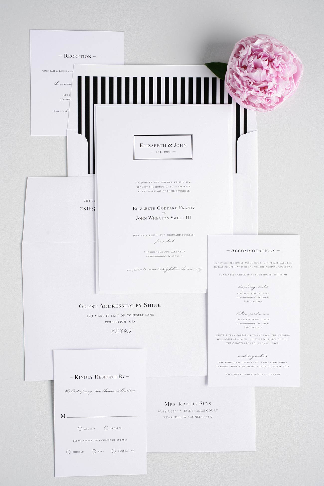 Modern black and white wedding invitations with monogram