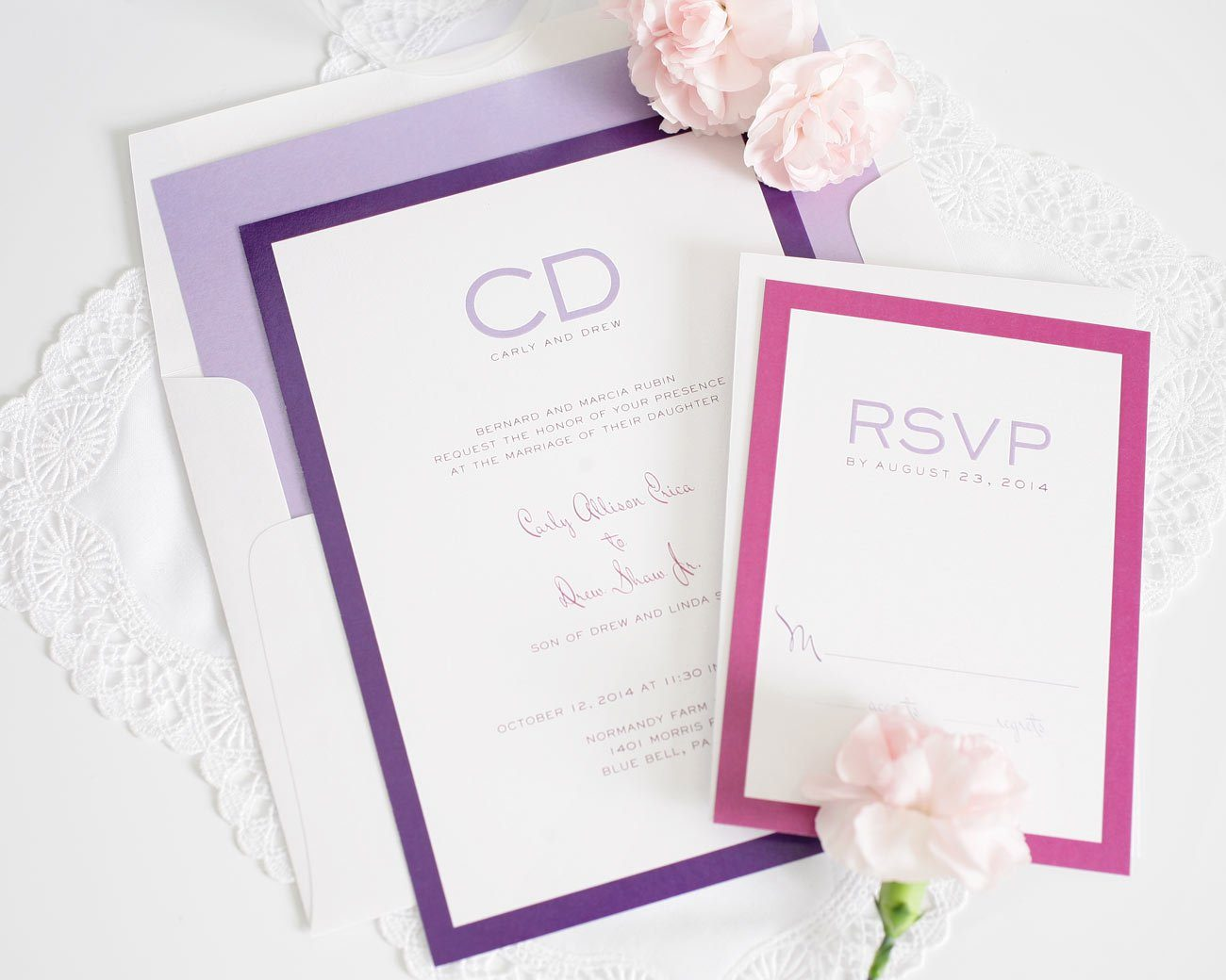 Modern luxe wedding invitations with purple accents