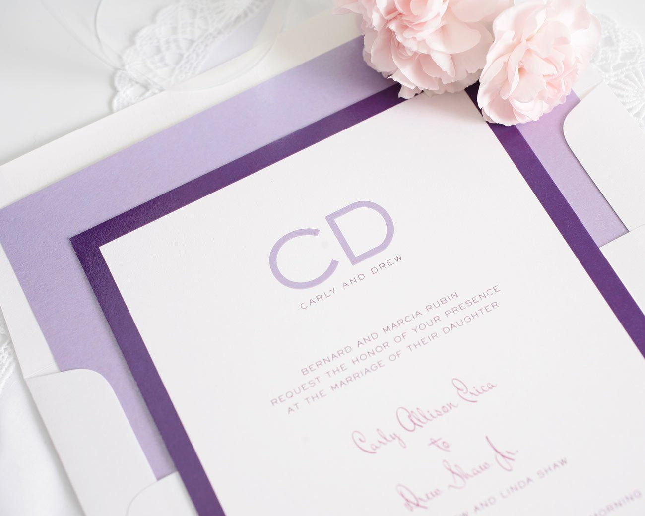 Modern purple ombre wedding invitations