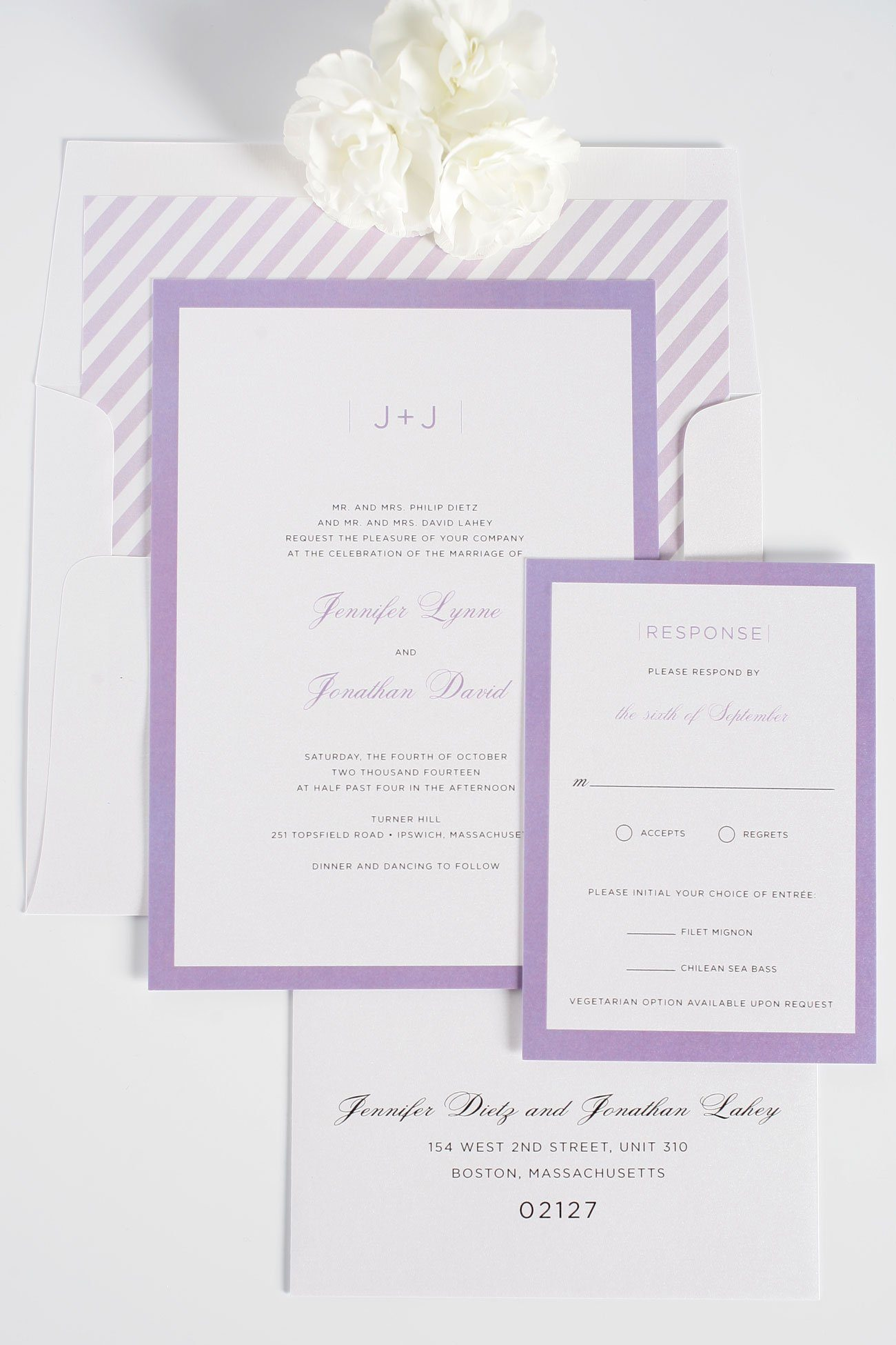 Modern Purple wedding invitations with striped envelope liner