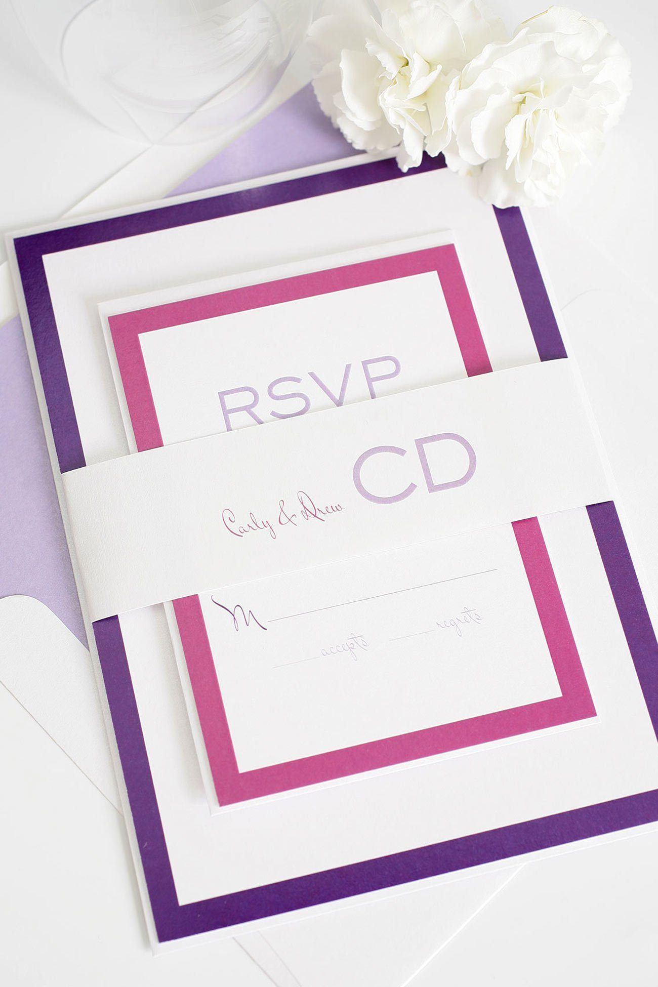 Modern purple and pink wedding invitations