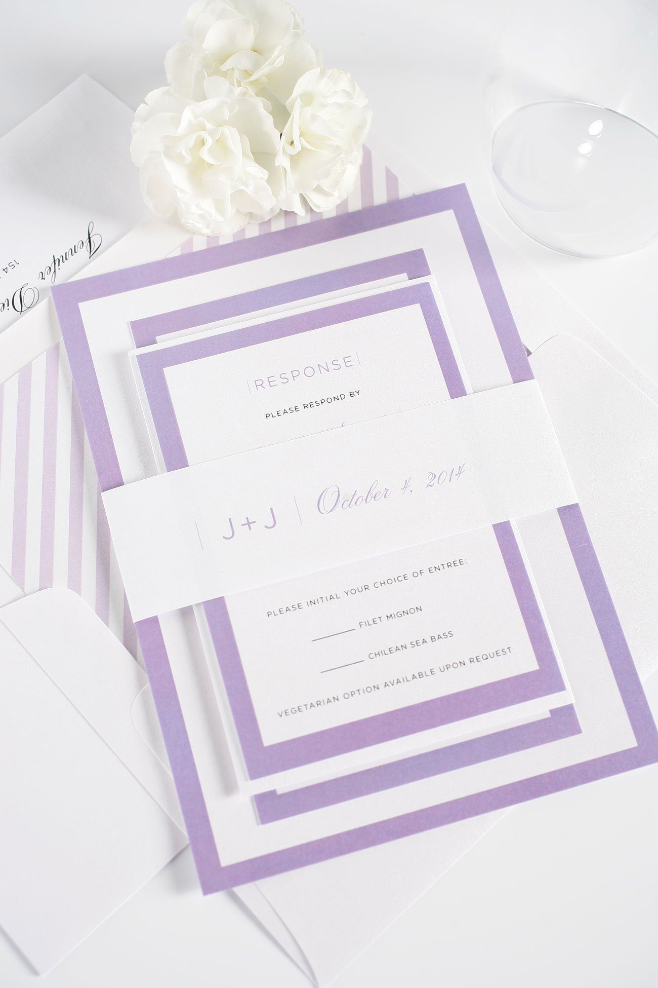 Modern wedding invitations with purple accents