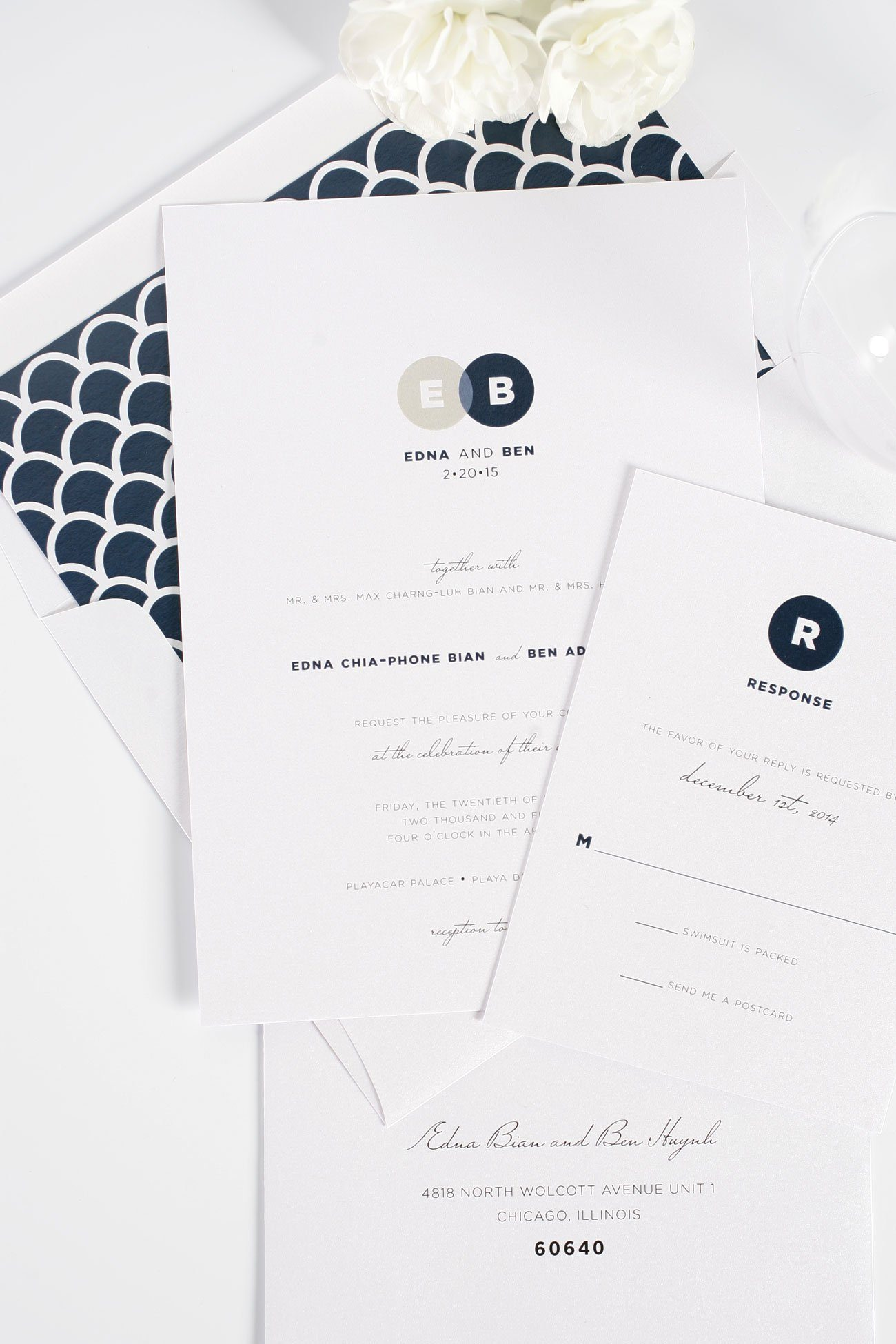 Modern neutral wedding invitations