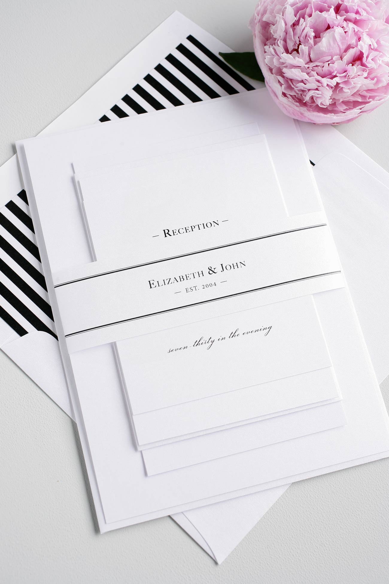 Black and white striped modern wedding invitations
