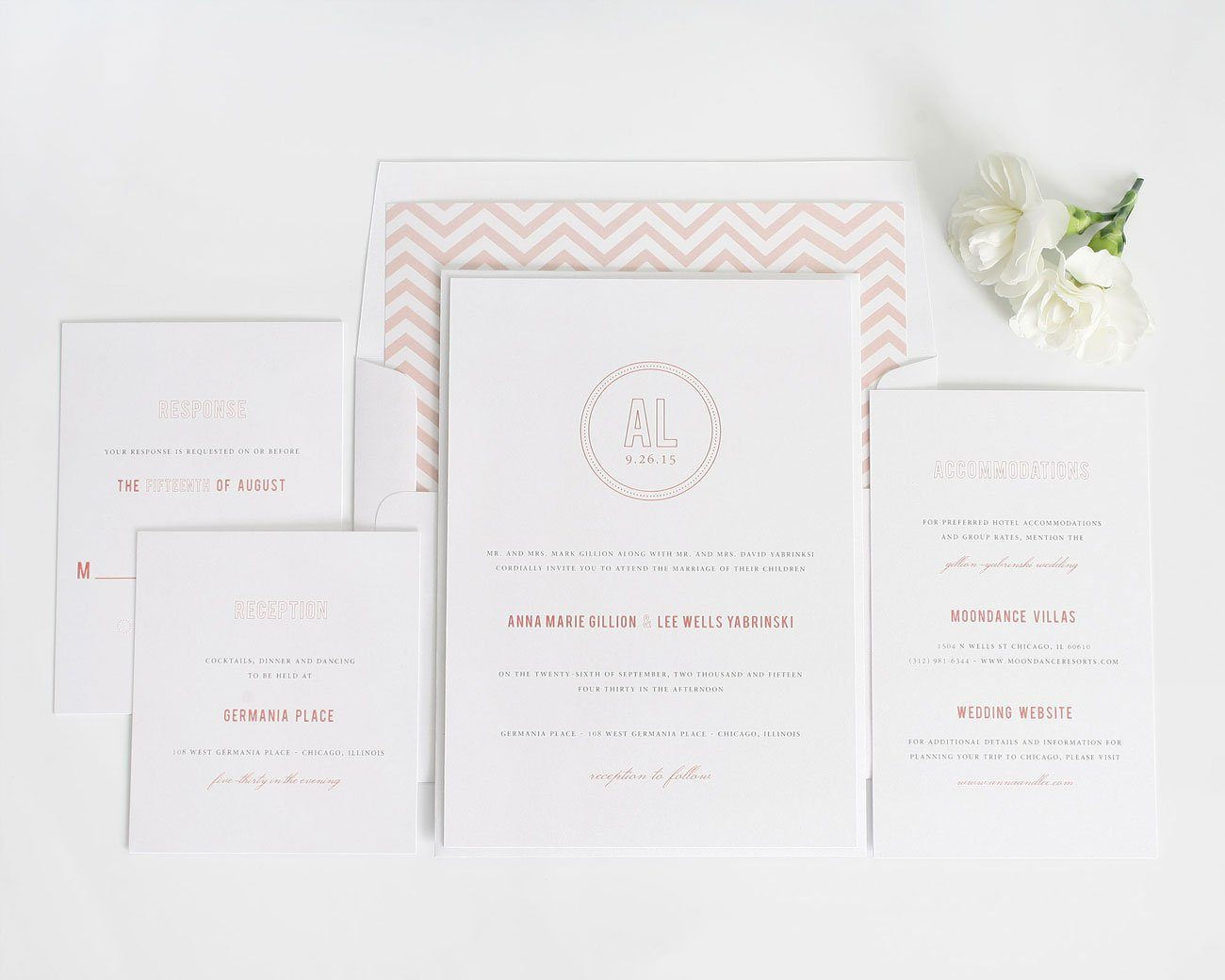 Monogram wedding invitations suite