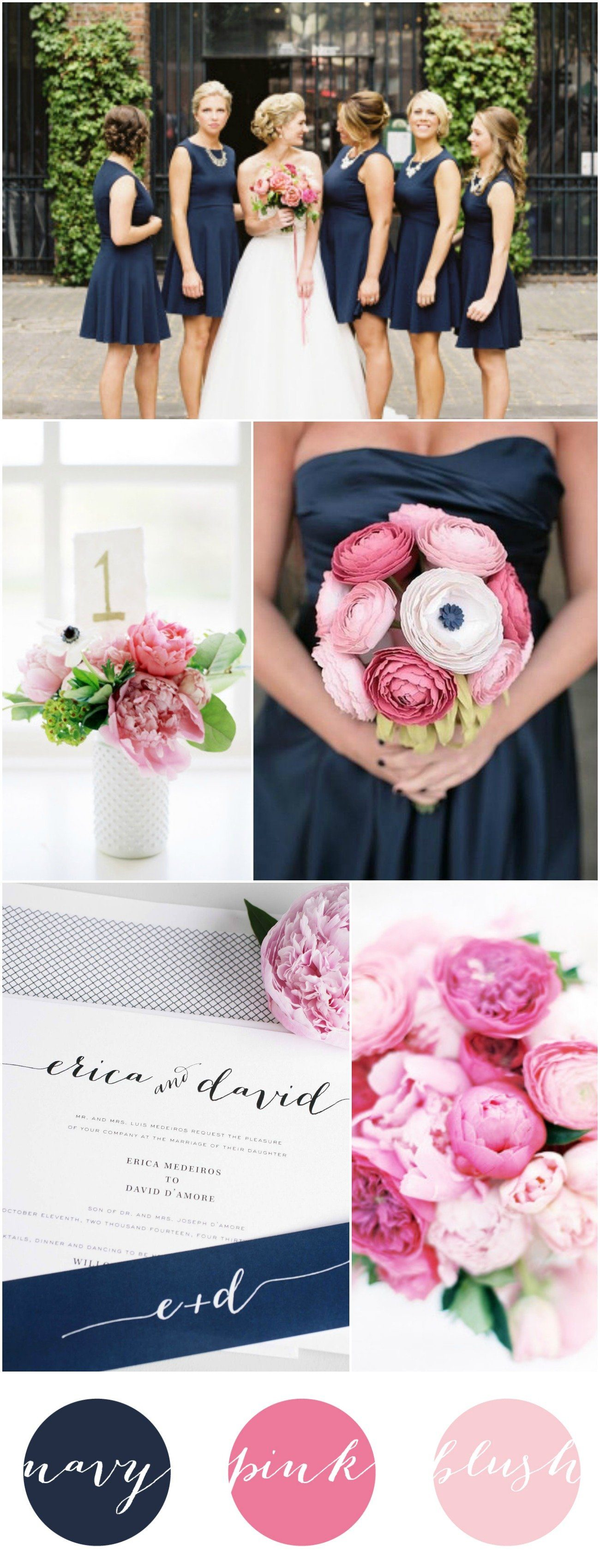 navy pink and blush wedding inspiration - Navy And Blush Wedding Invitations