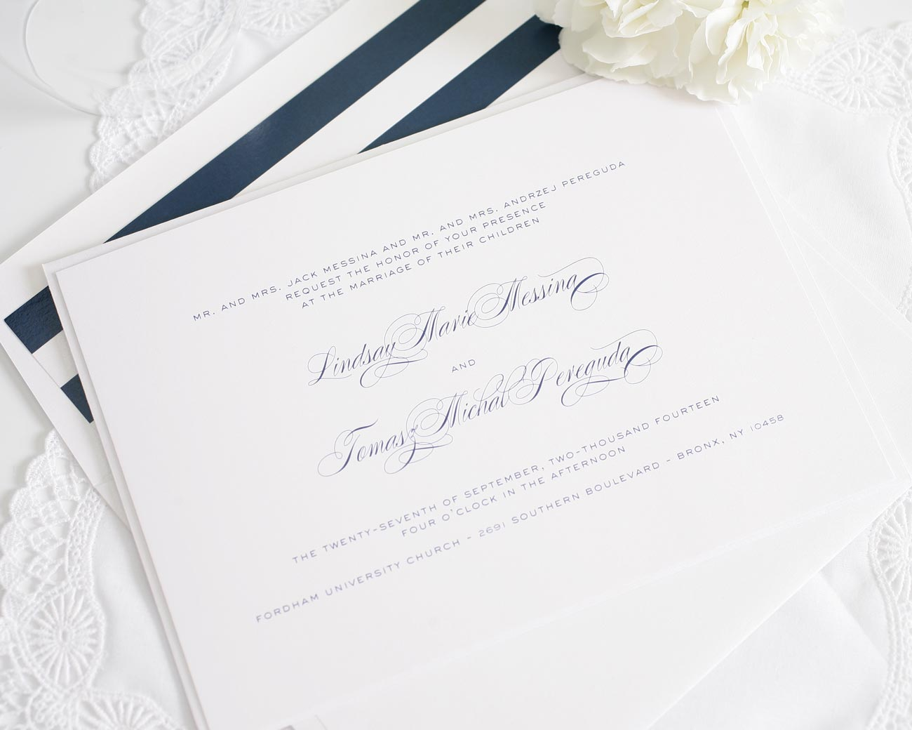 Navy striped wedding invitations