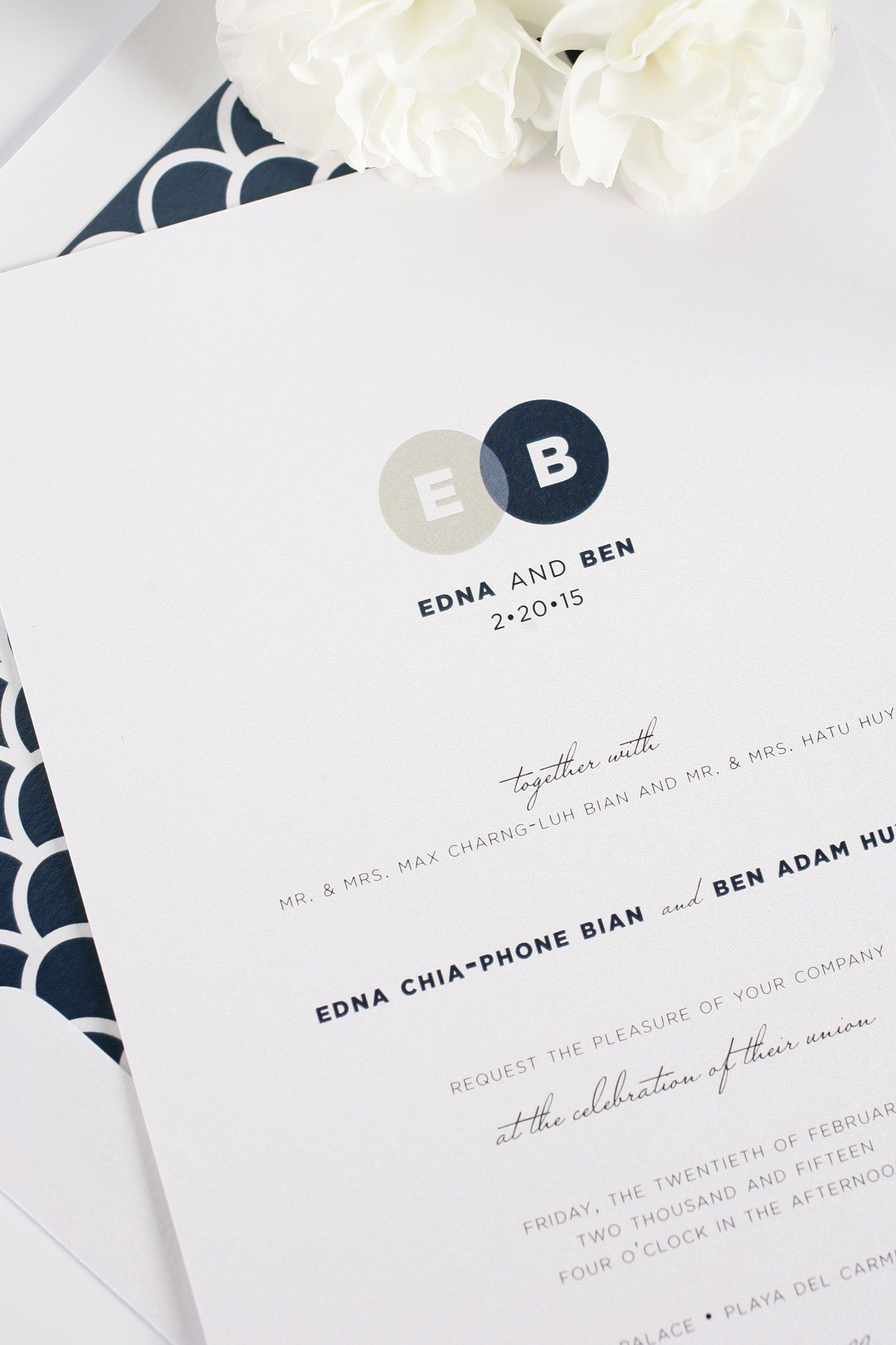 Navy wedding invitations with monogram