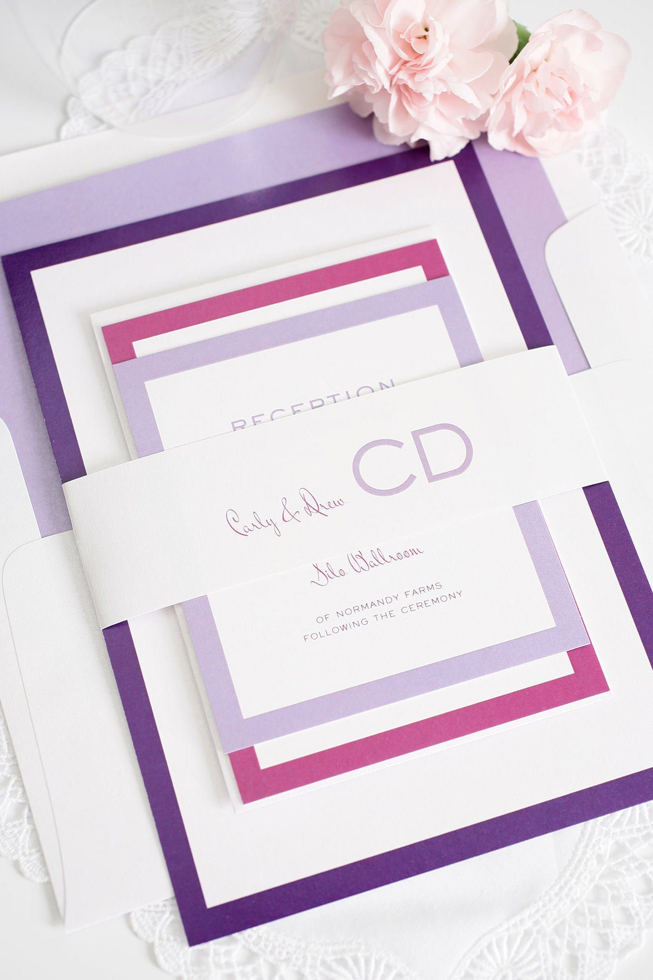 ombre purple wedding invitations