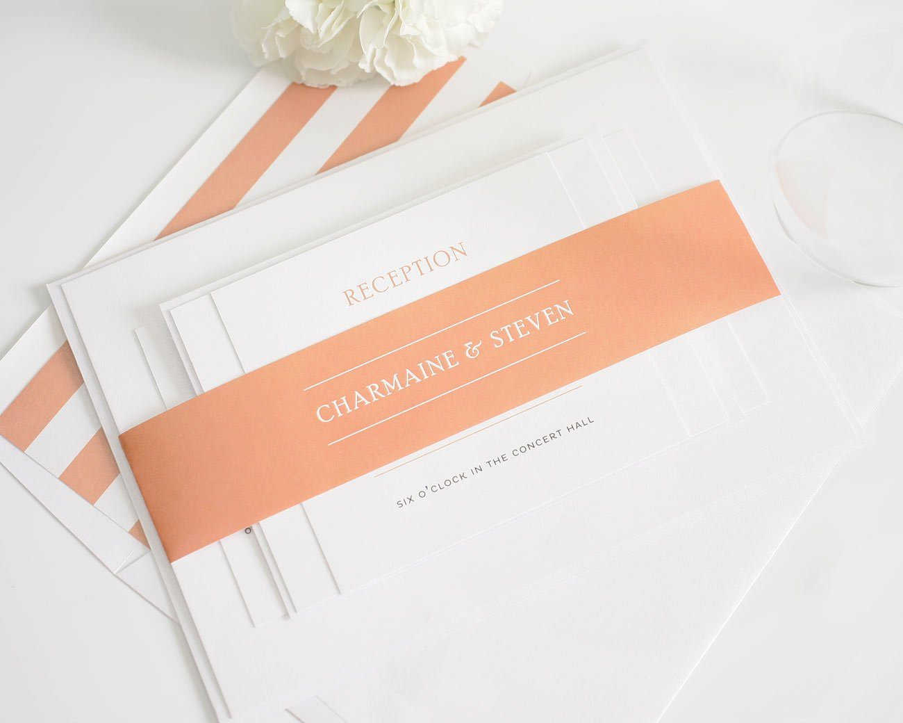 elegant wedding invitations in peach - Simple Elegant Wedding Invitations