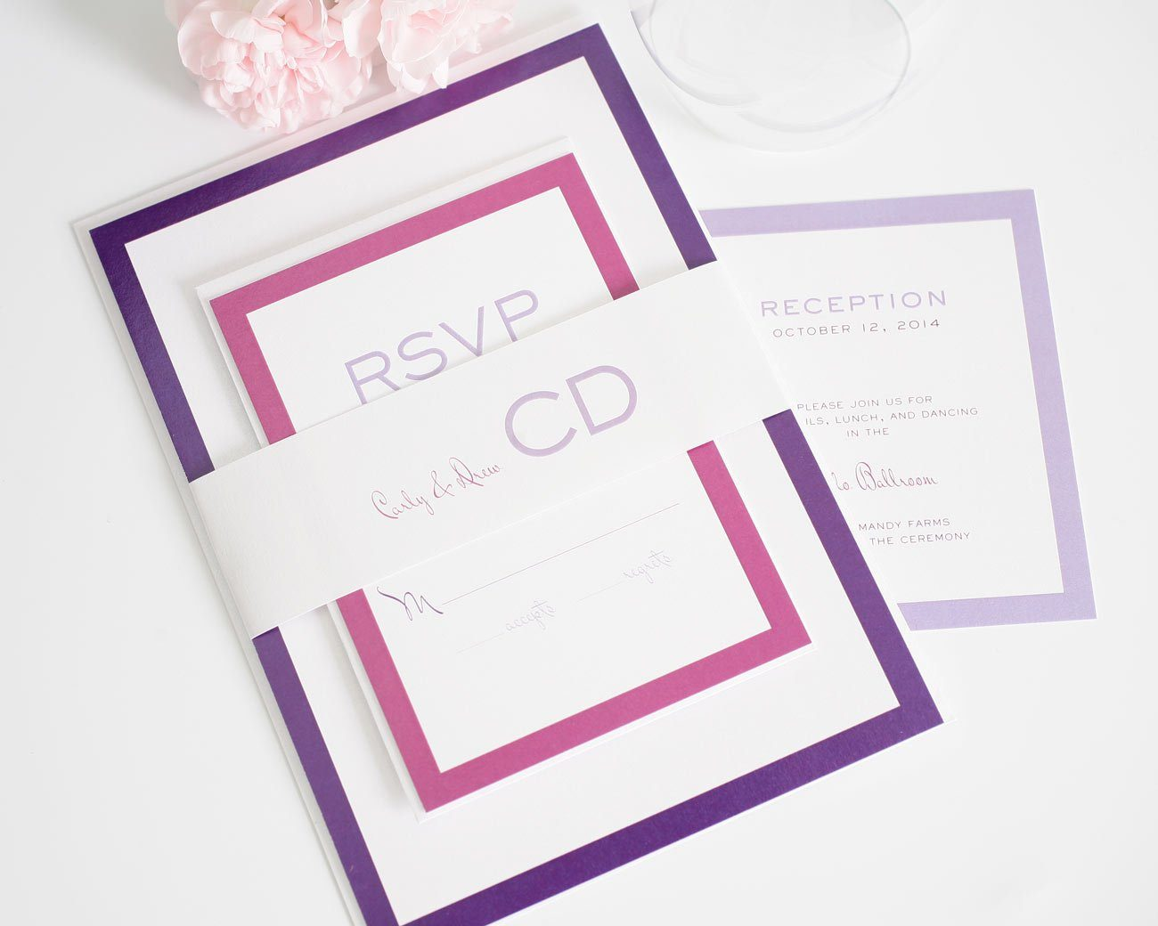 Pink and Purple Ombre Wedding Invitations