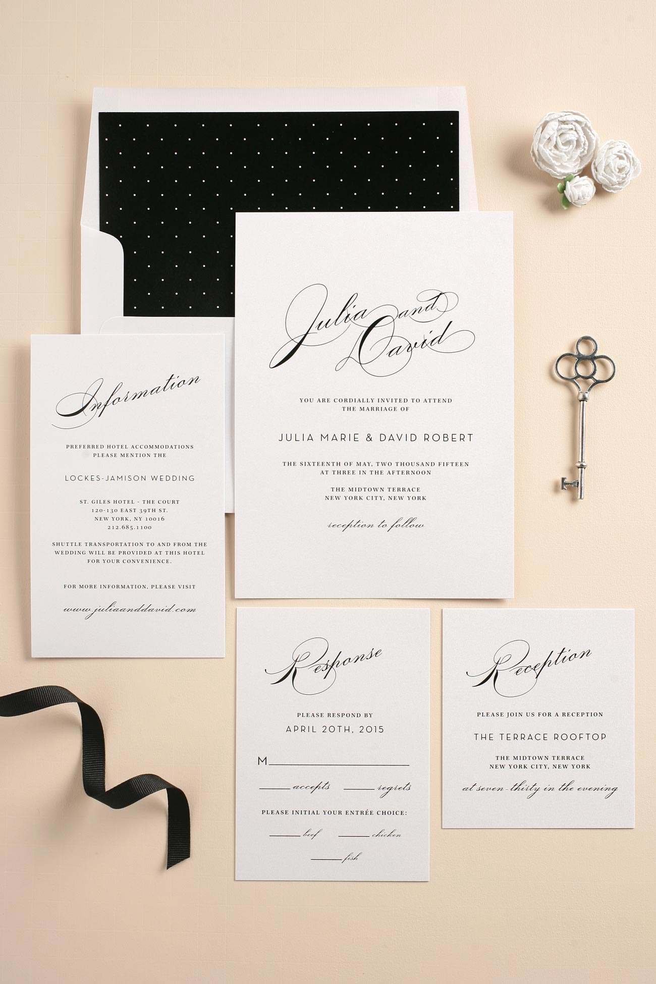 Black and white vintage wedding invitations with polka dot accents