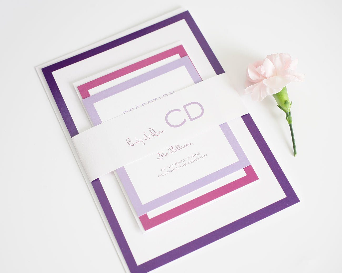 Purple and Pink ombre wedding invites