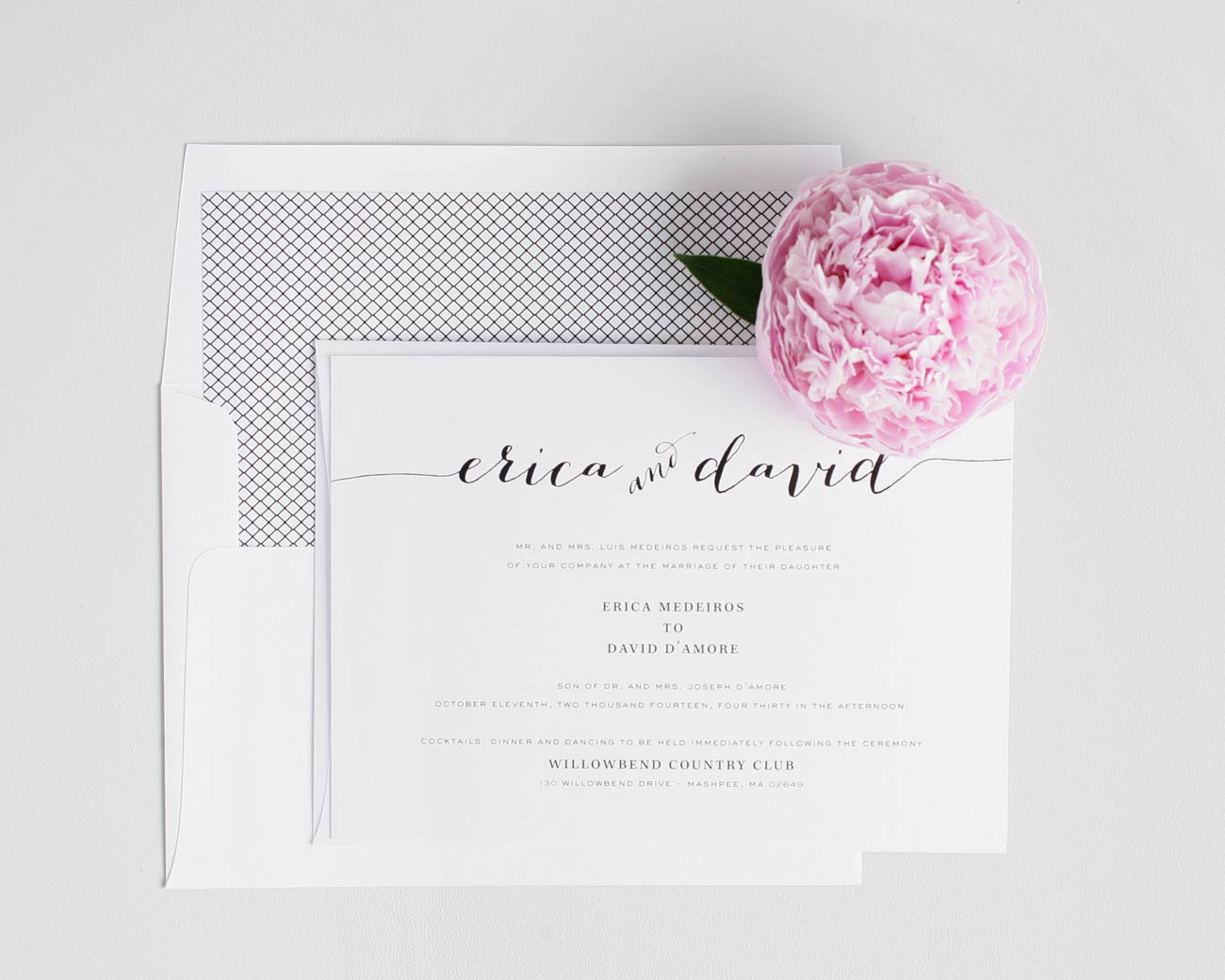 Romantic wedding invitations in navy