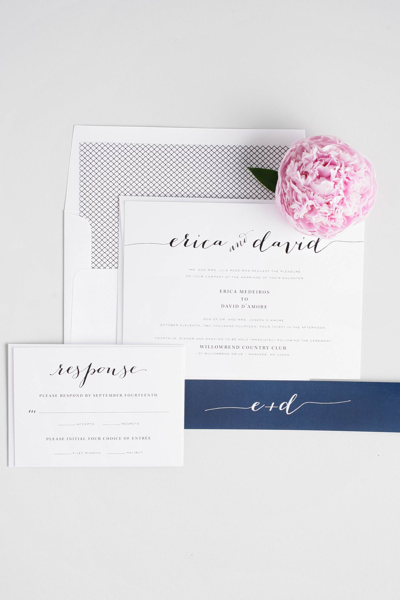 Rustic script wedding invitations