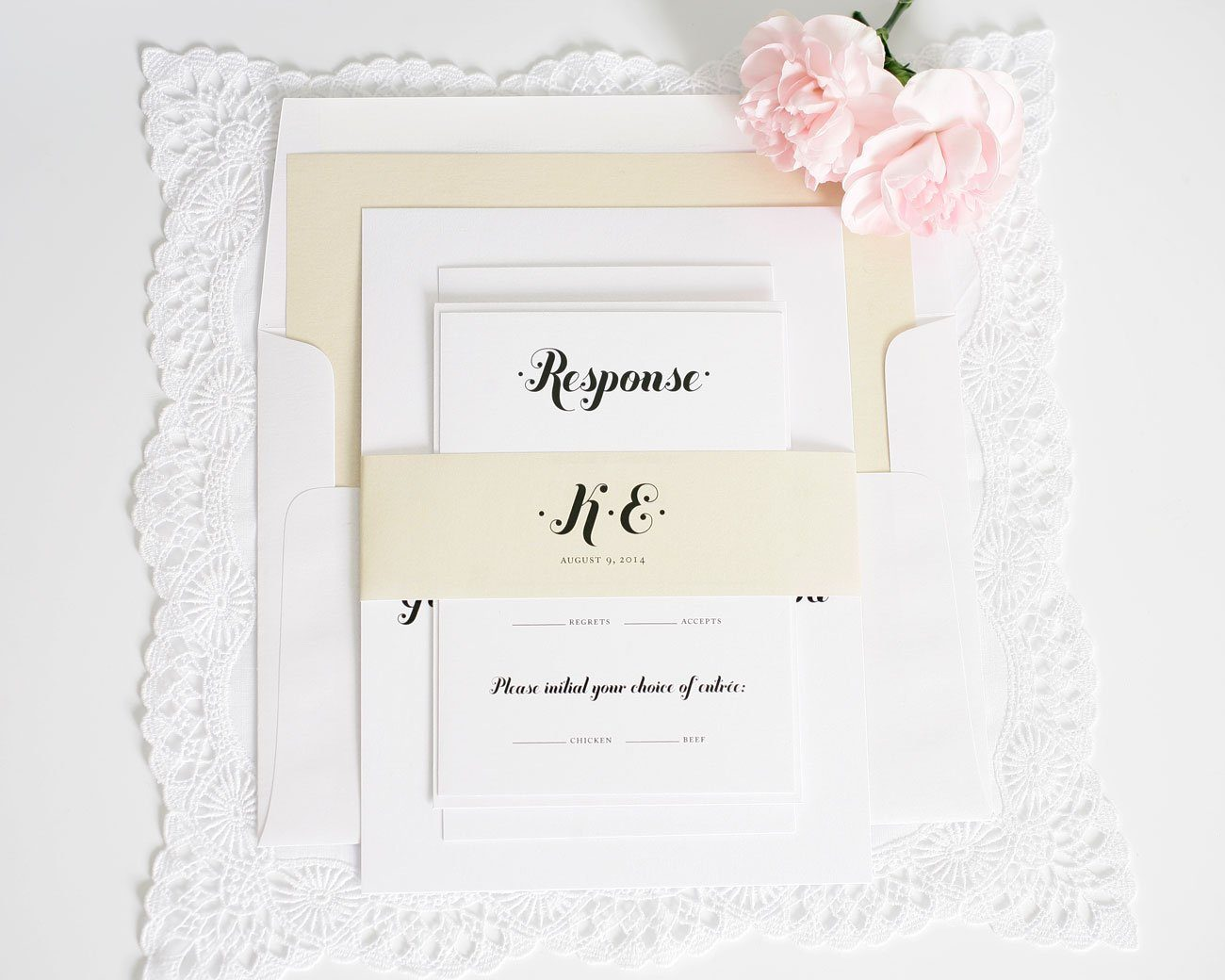 Script wedding invitations in champagne
