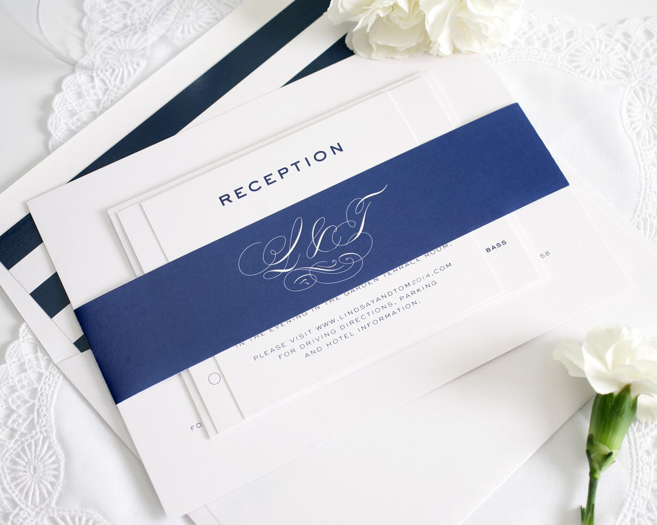 Vintage wedding invitations with navy accents