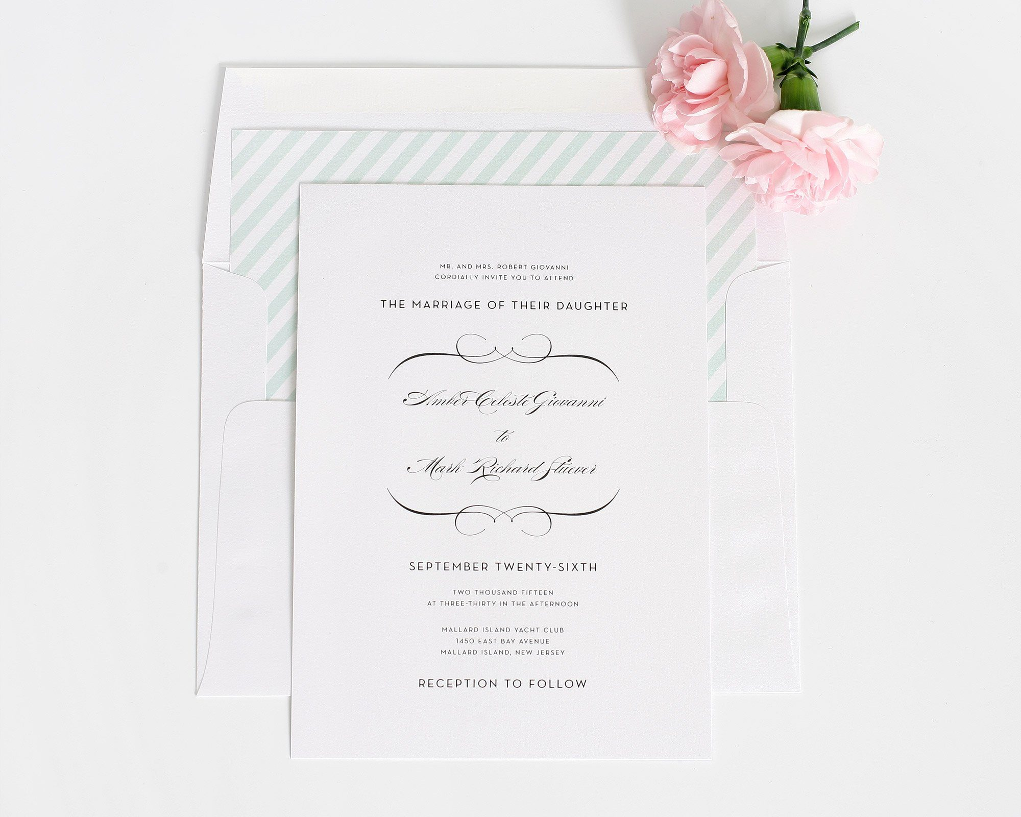 Vintage wedding invitations with mint stripes