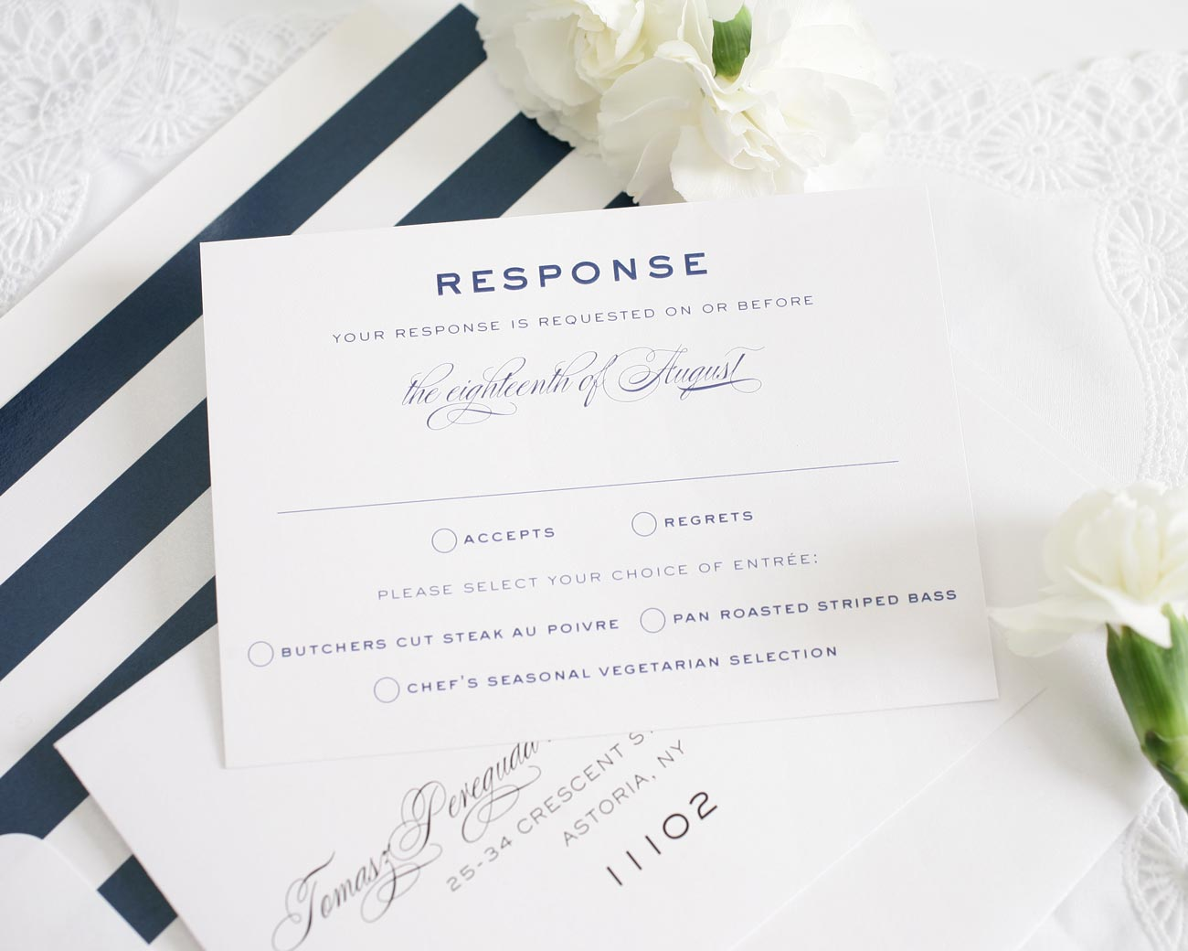 Vintage wedding invitations with navy stripes