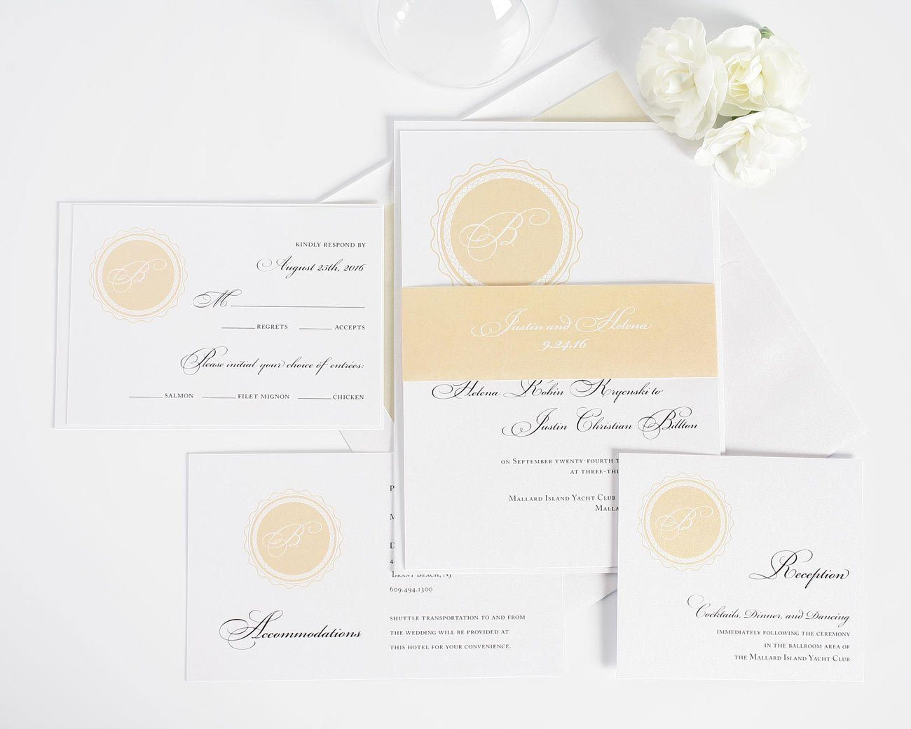 wedding invitation suite in soft peach