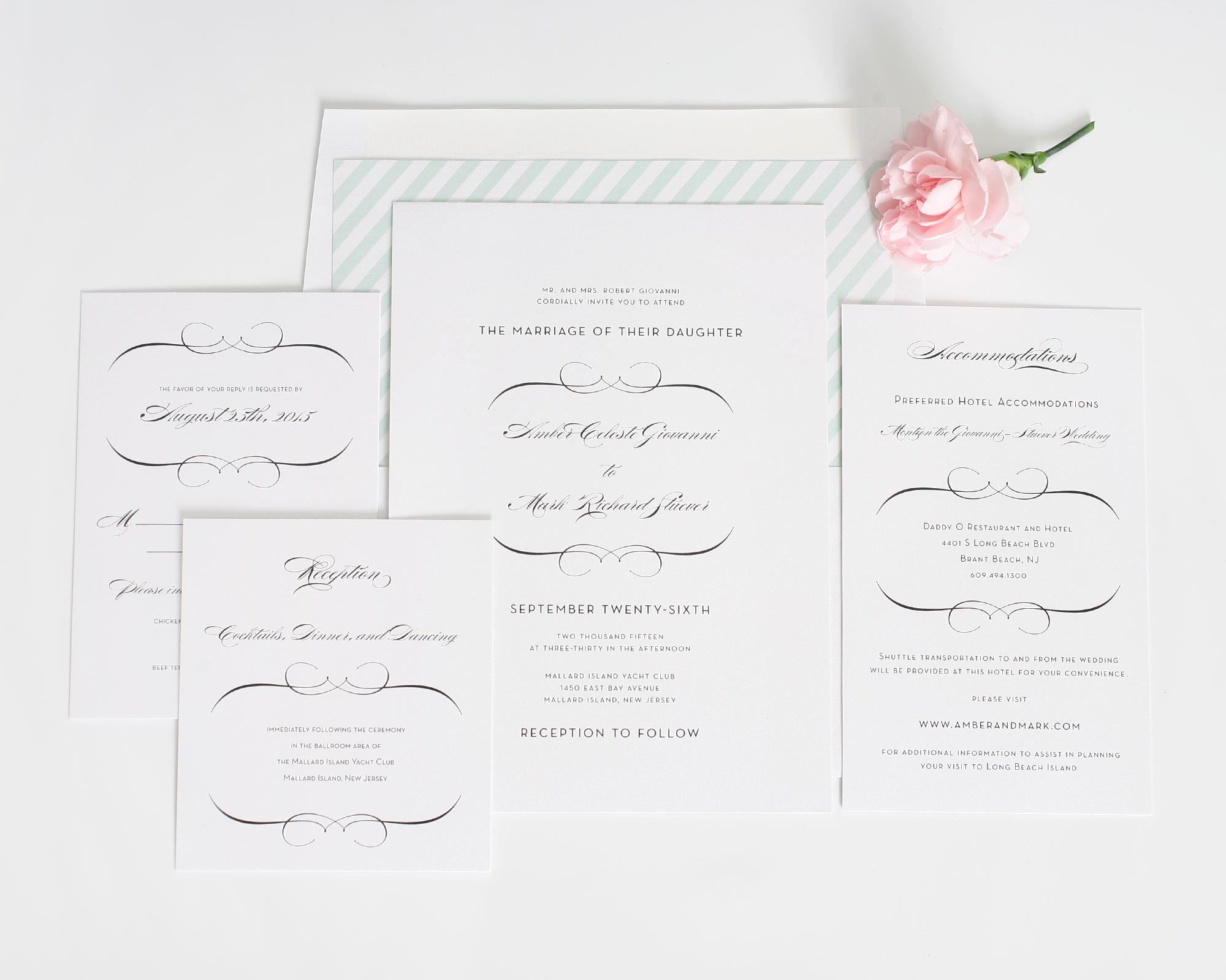 romantic wedding invitations suite in mint