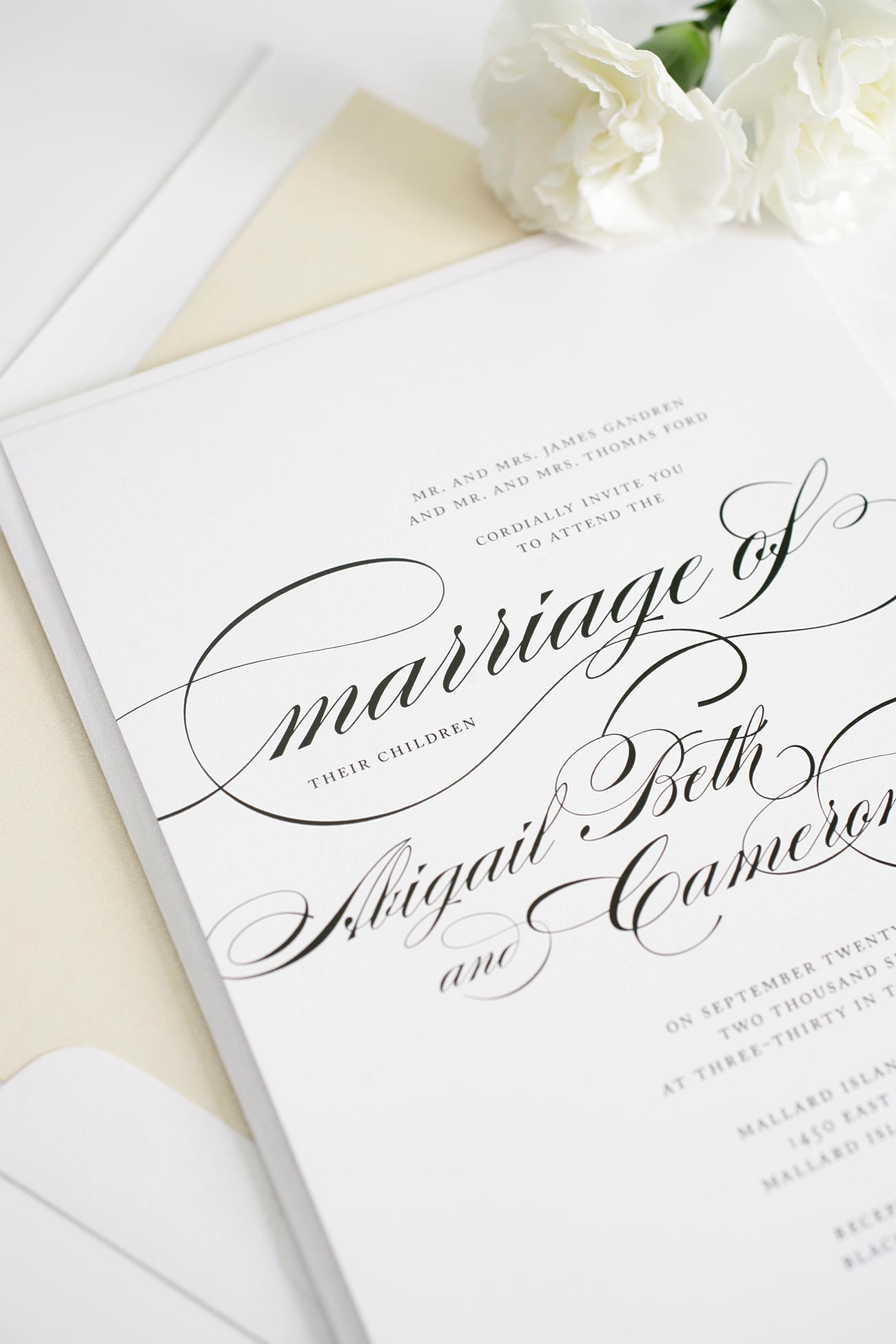 Neutral calligraphy wedding invitation