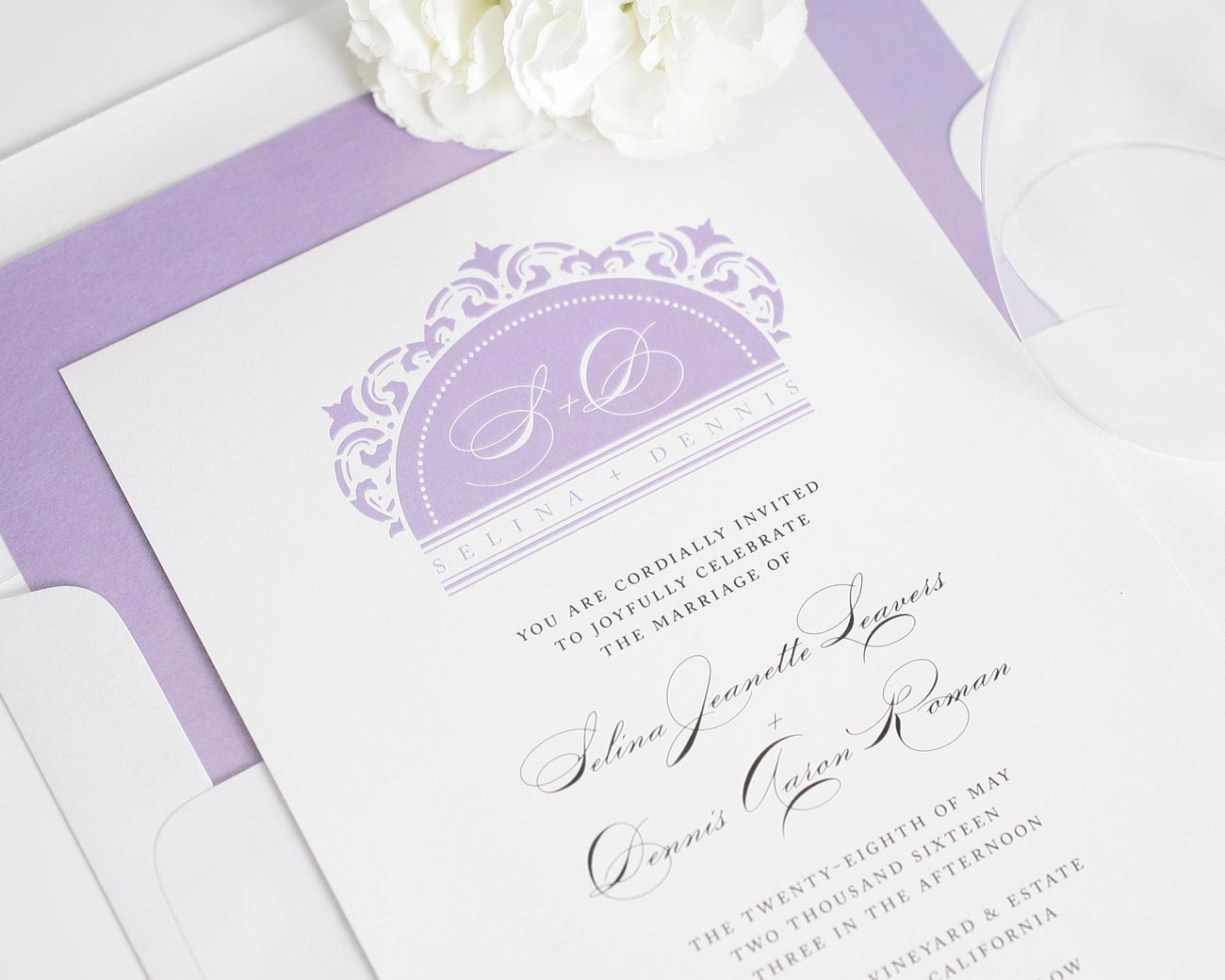 Purple wedding invitations in damask